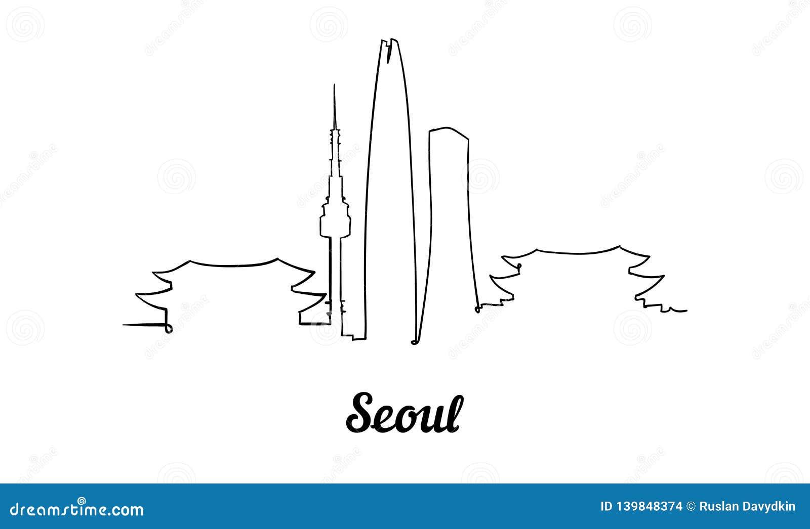 Una línea horizonte de Seúl del estilo Vector minimaistic moderno simple del estilo