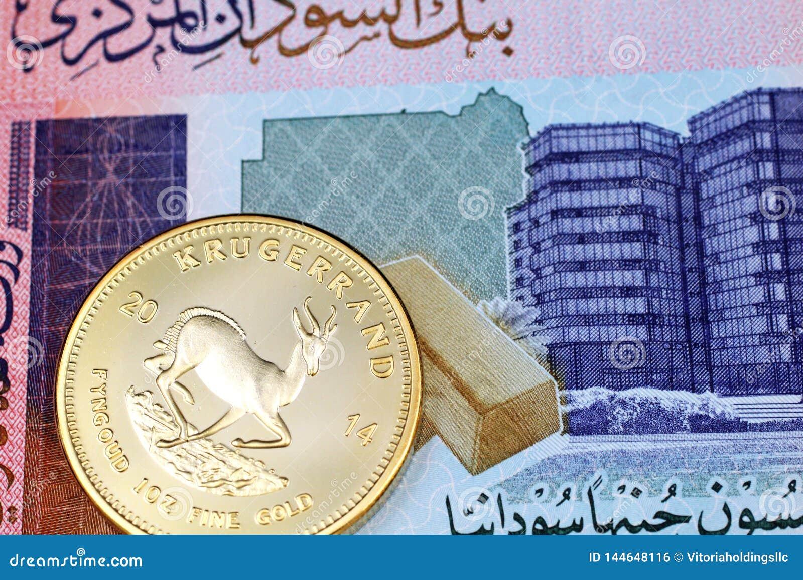 Una macro immagine di una moneta cinese del panda dell oro con una nota sudanese da cinquanta libbre