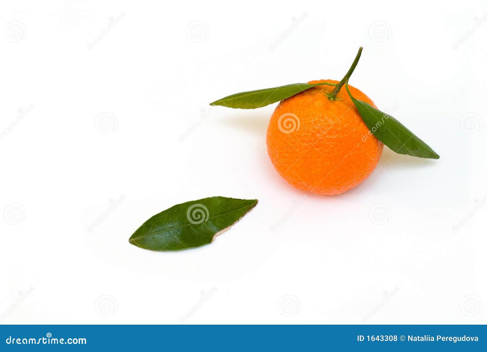 Una mandarina con una hoja verde
