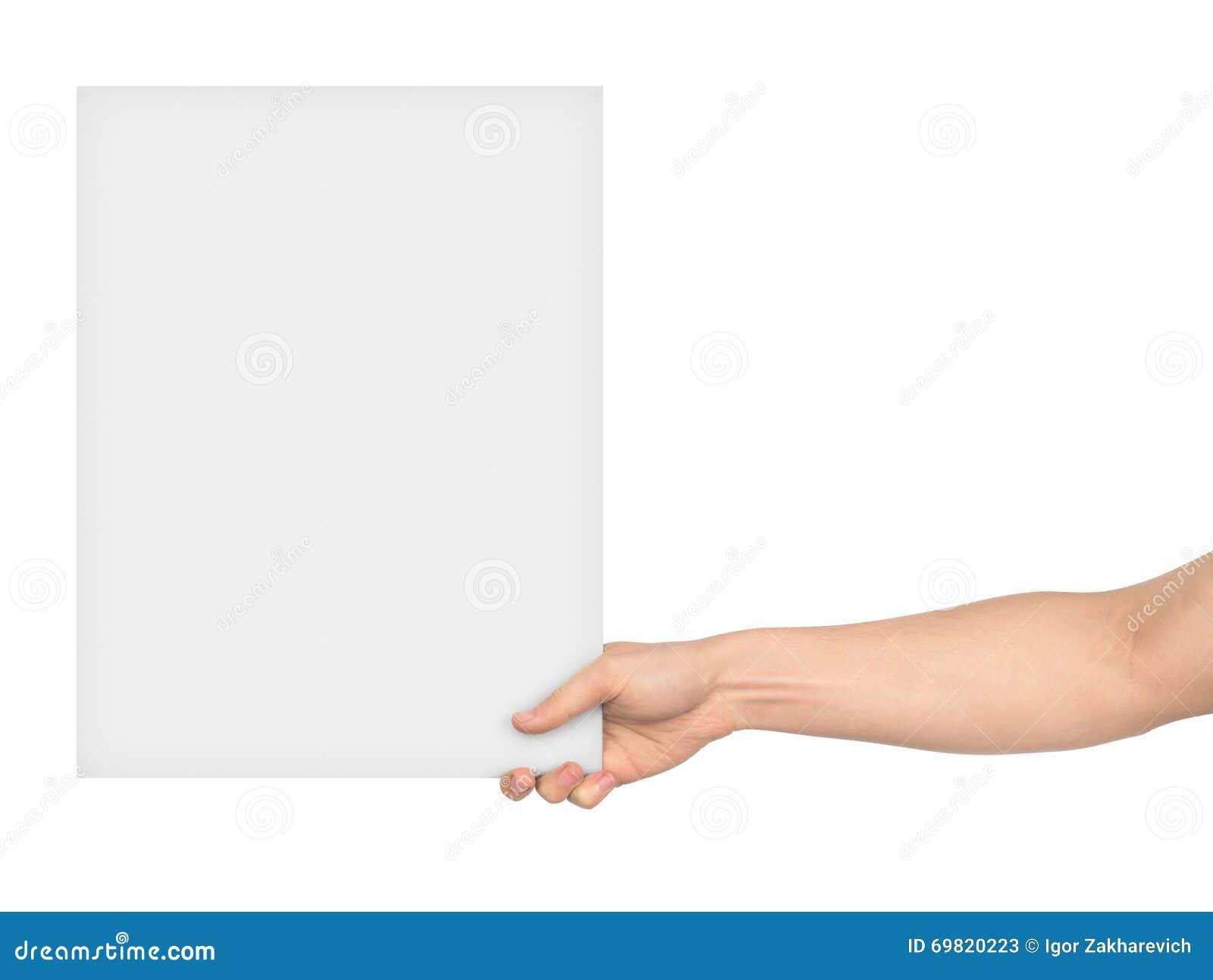 Una mano che tiene un grande foglio bianco di carta - Foglio laminato bianco ...