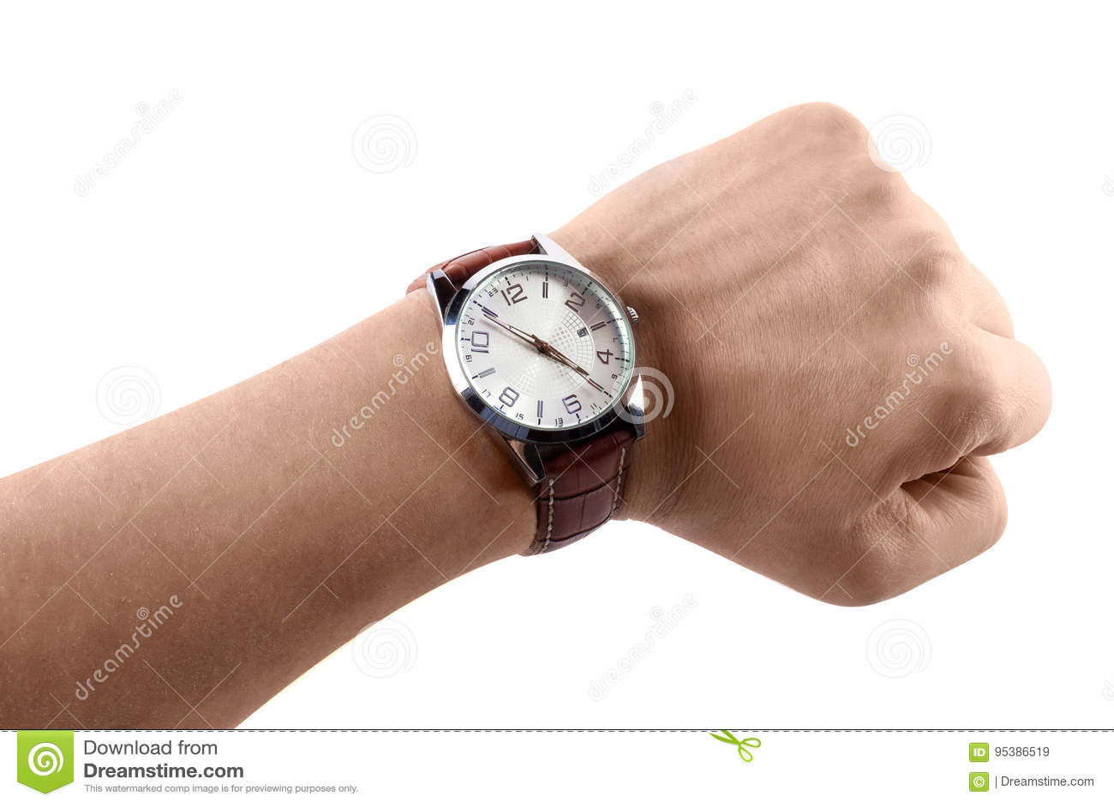 Una mano con los relojes, aislados en el fondo blanco