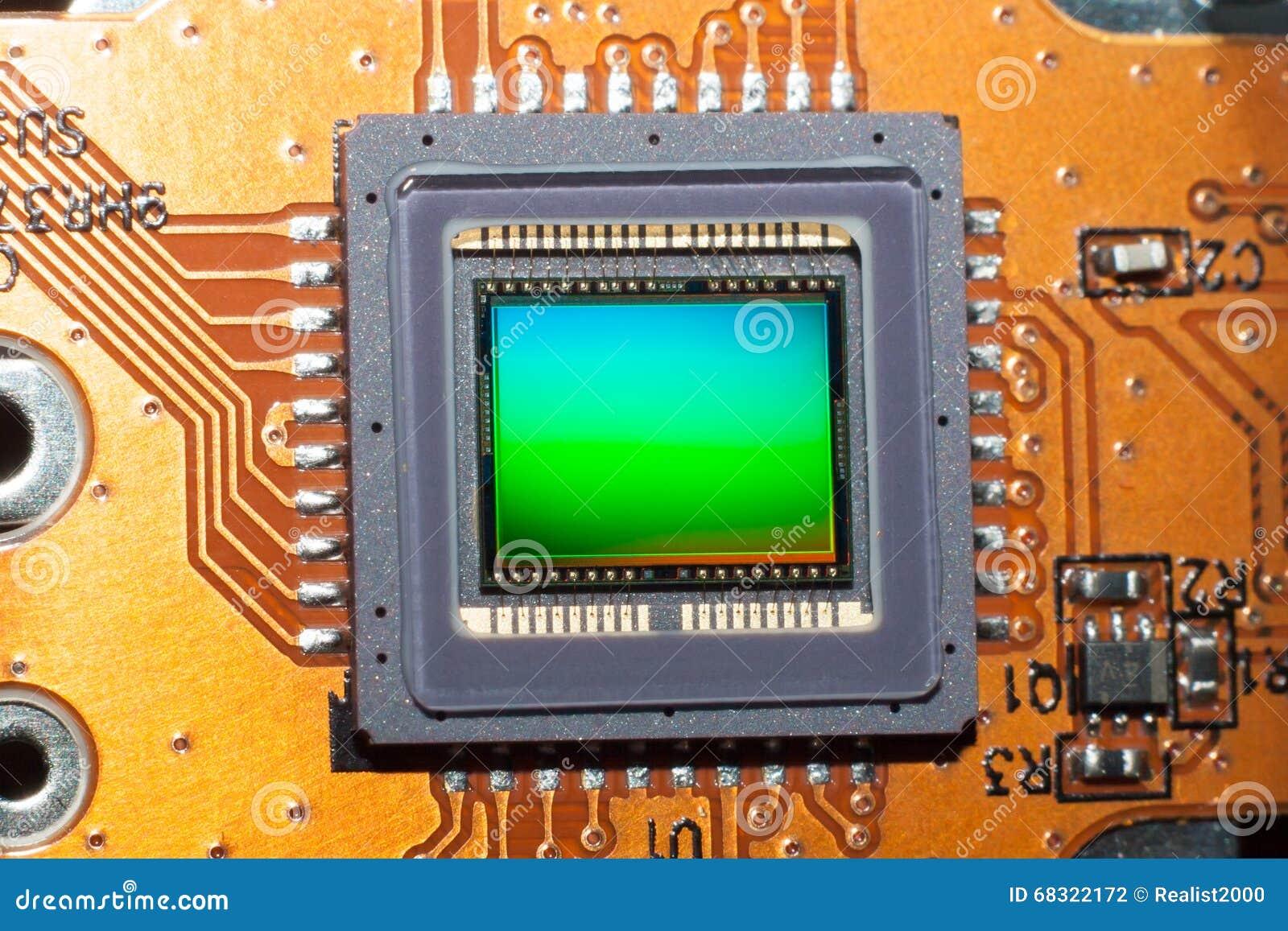 Una matriz sensible de la cámara digital de la foto