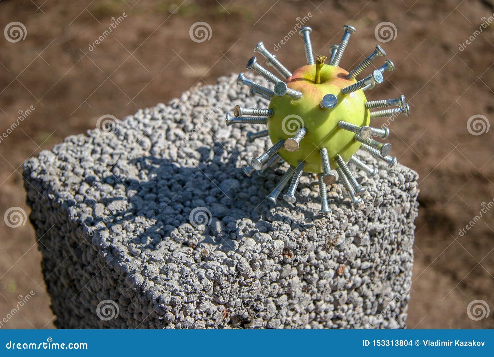 Una mela verde con i chiodi attaccati come una testa in un film Hellraiser si trova su un blocco un giorno soleggiato