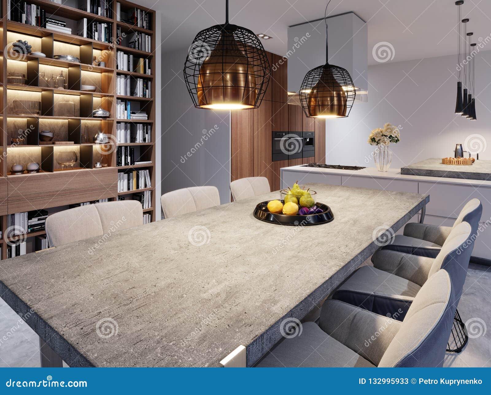Una Mesa De Comedor Grande Con Un Worktop Concreto, Lámparas ...