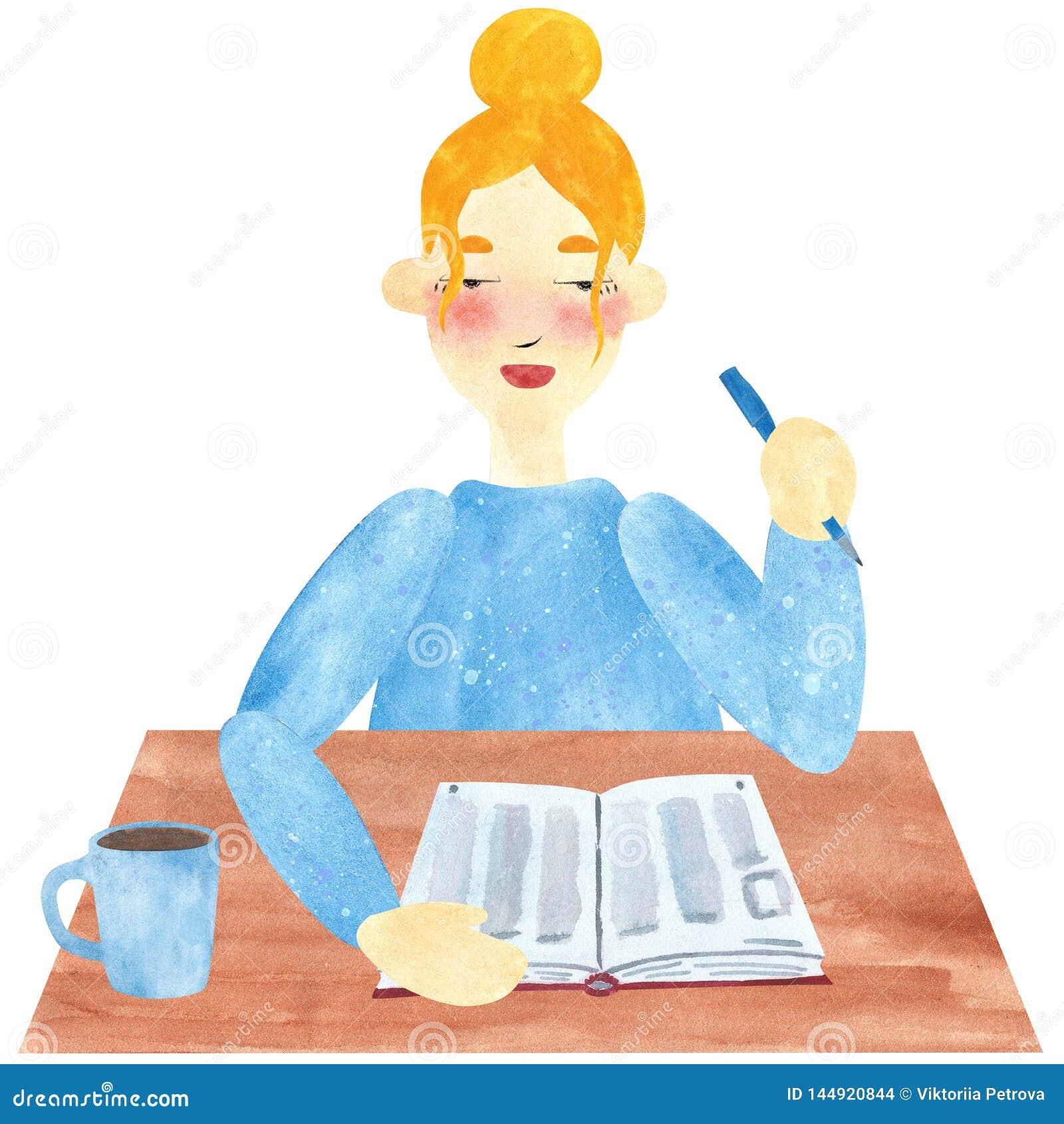 Una muchacha con el pelo rubio en el azul, leyendo un libro