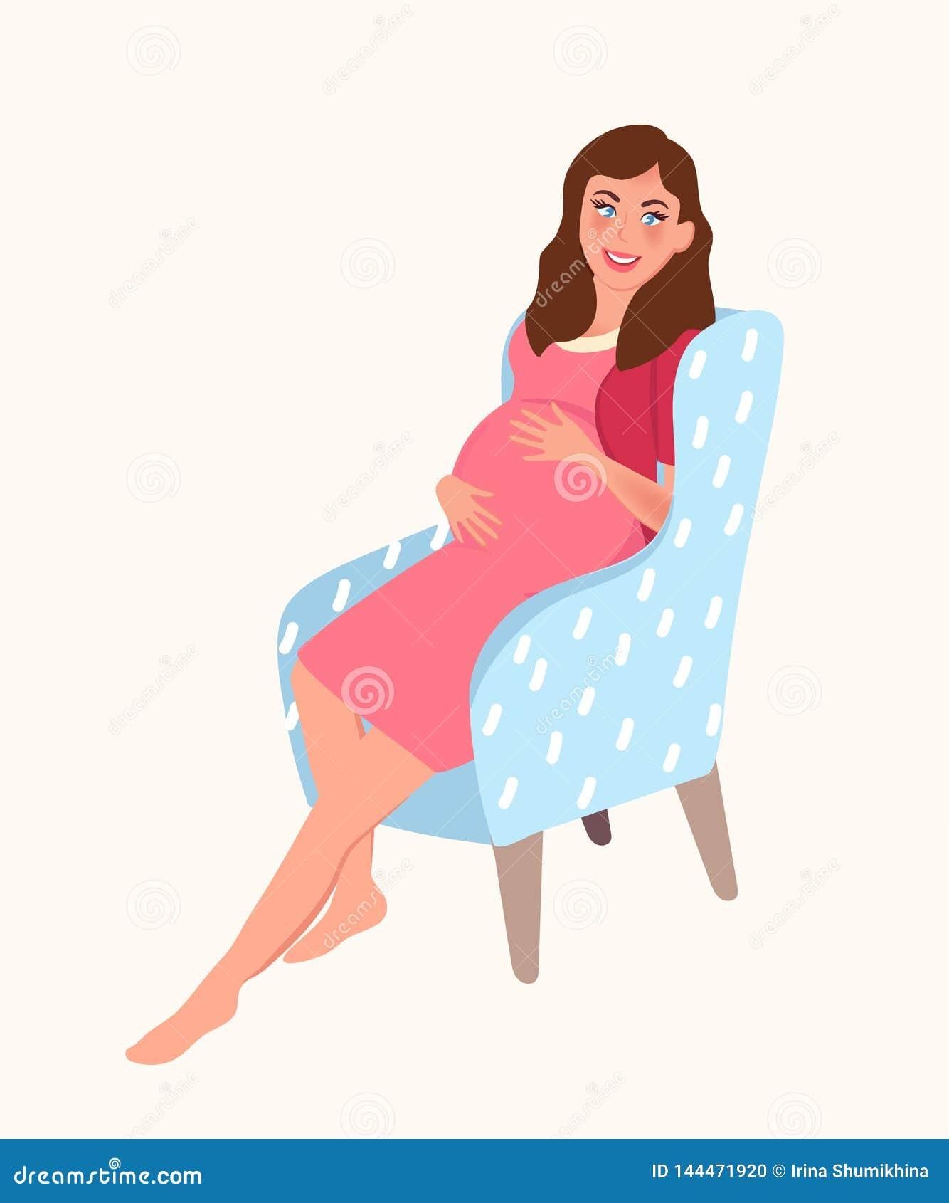 Una muchacha embarazada se sienta en una silla y toca su estómago Contar con a un bebé Embarazo Ilustración del vector