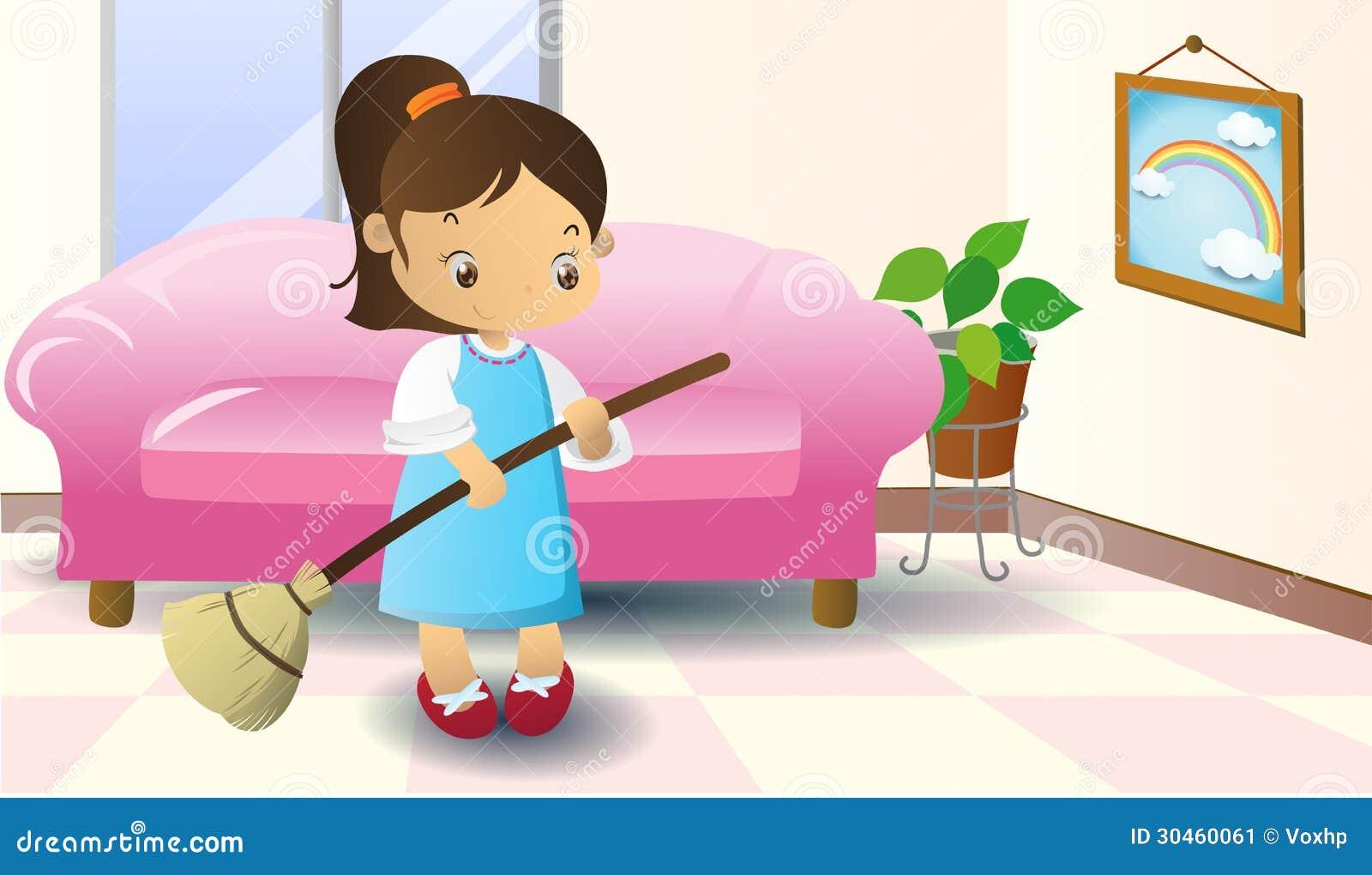 Girl Sweeping Floor Cartoon
