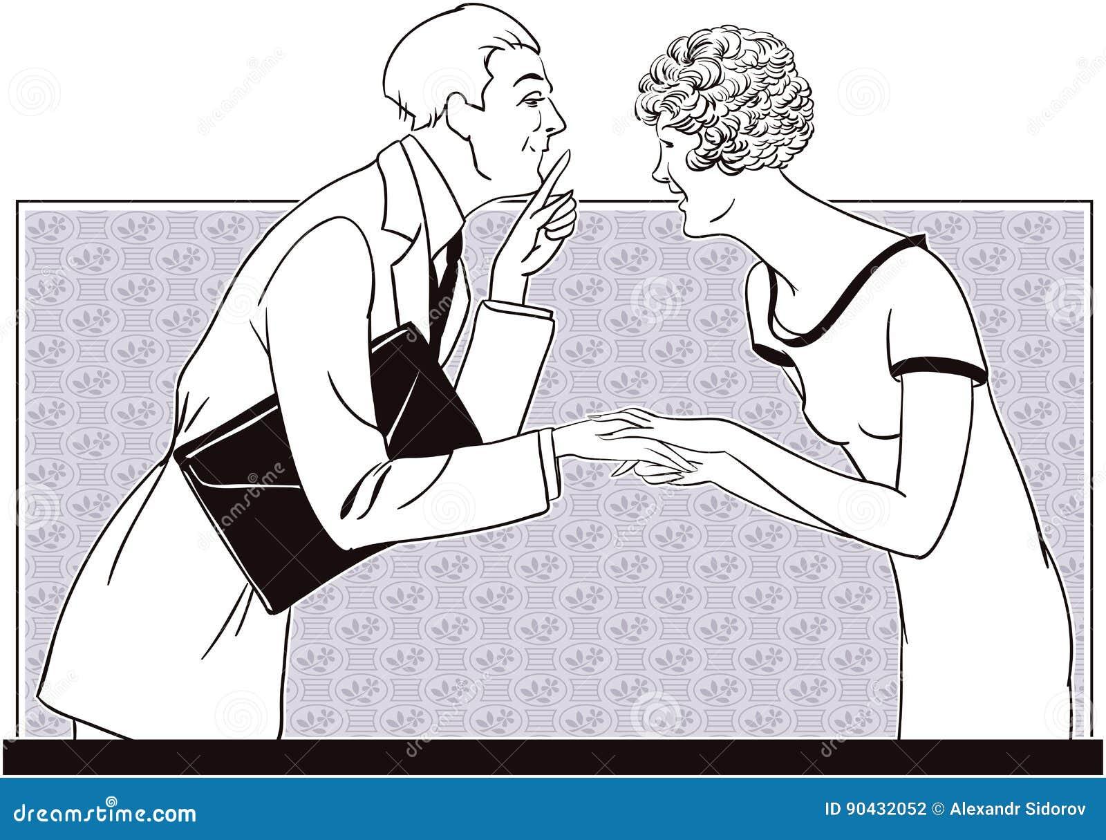 Una muchacha y un hombre dicen secretos Ilustración común