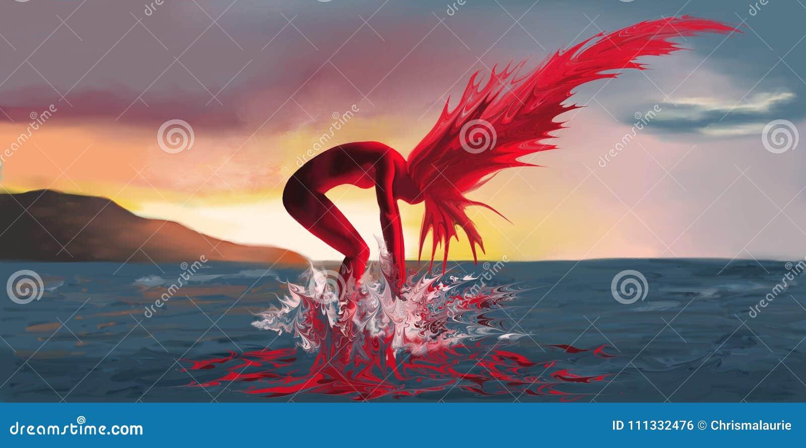 Una mujer en el fuego sale del mar en un fondo de la puesta del sol
