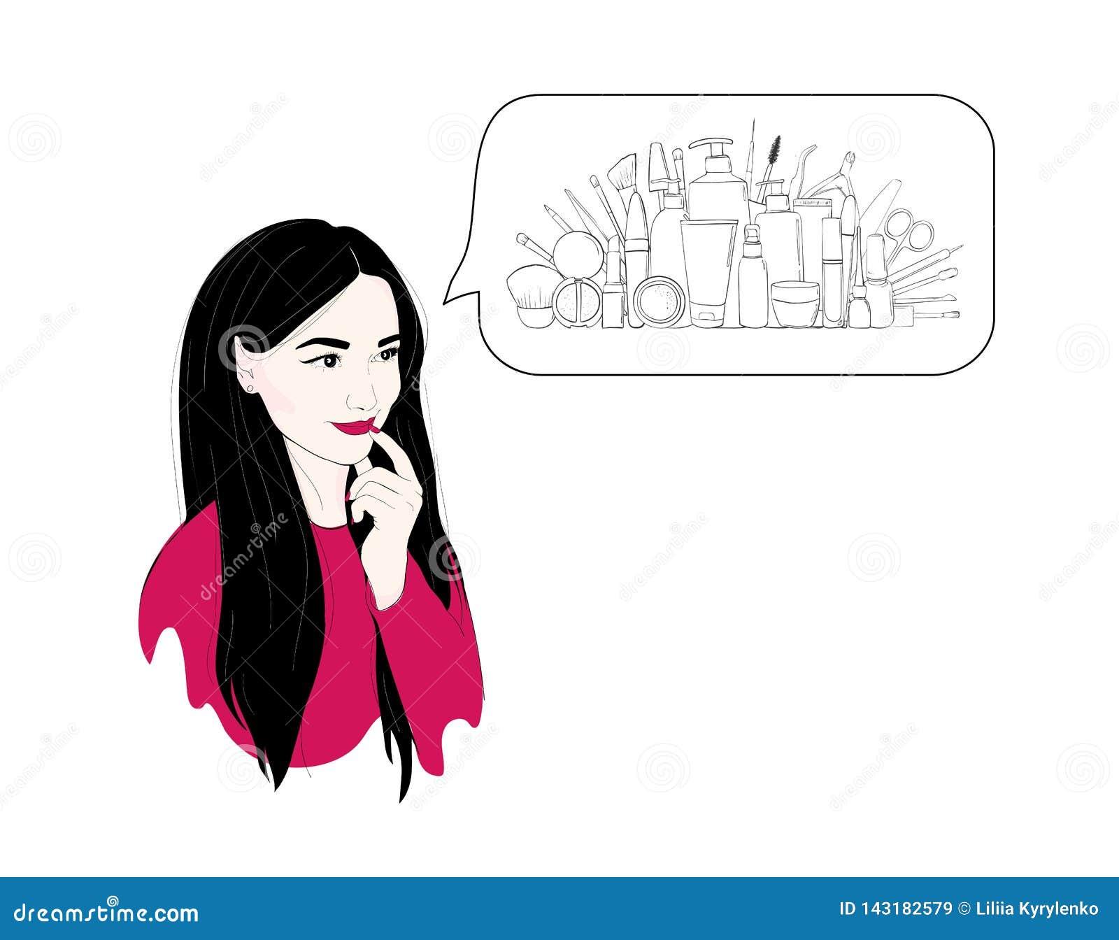 Una mujer piensa en los cosméticos o las compras o los sueños Ejemplo de la moda de un retrato moreno de la muchacha con el pelo