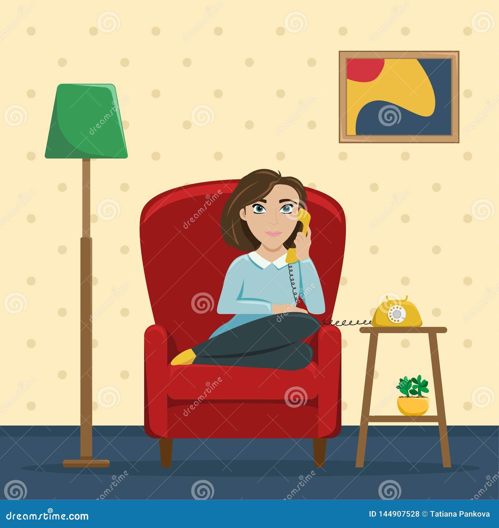 Una mujer que se sienta en una silla en casa que habla en el teléfono Conversaciones acogedoras con un amigo Ejemplo plano del ve