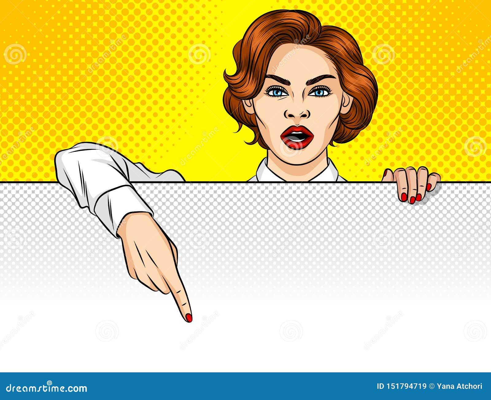 Una mujer señala su finger al tablero