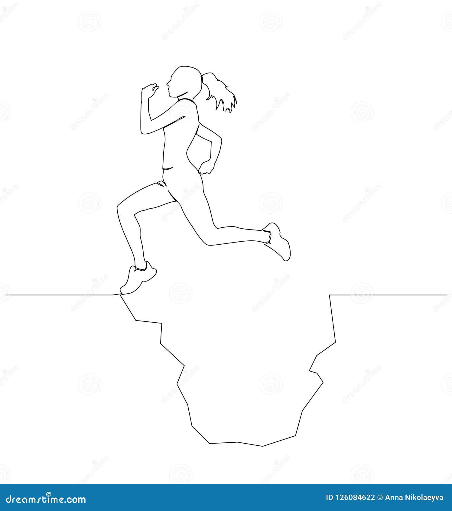 Una mujer supera un obstáculo Funcionamientos, saltos