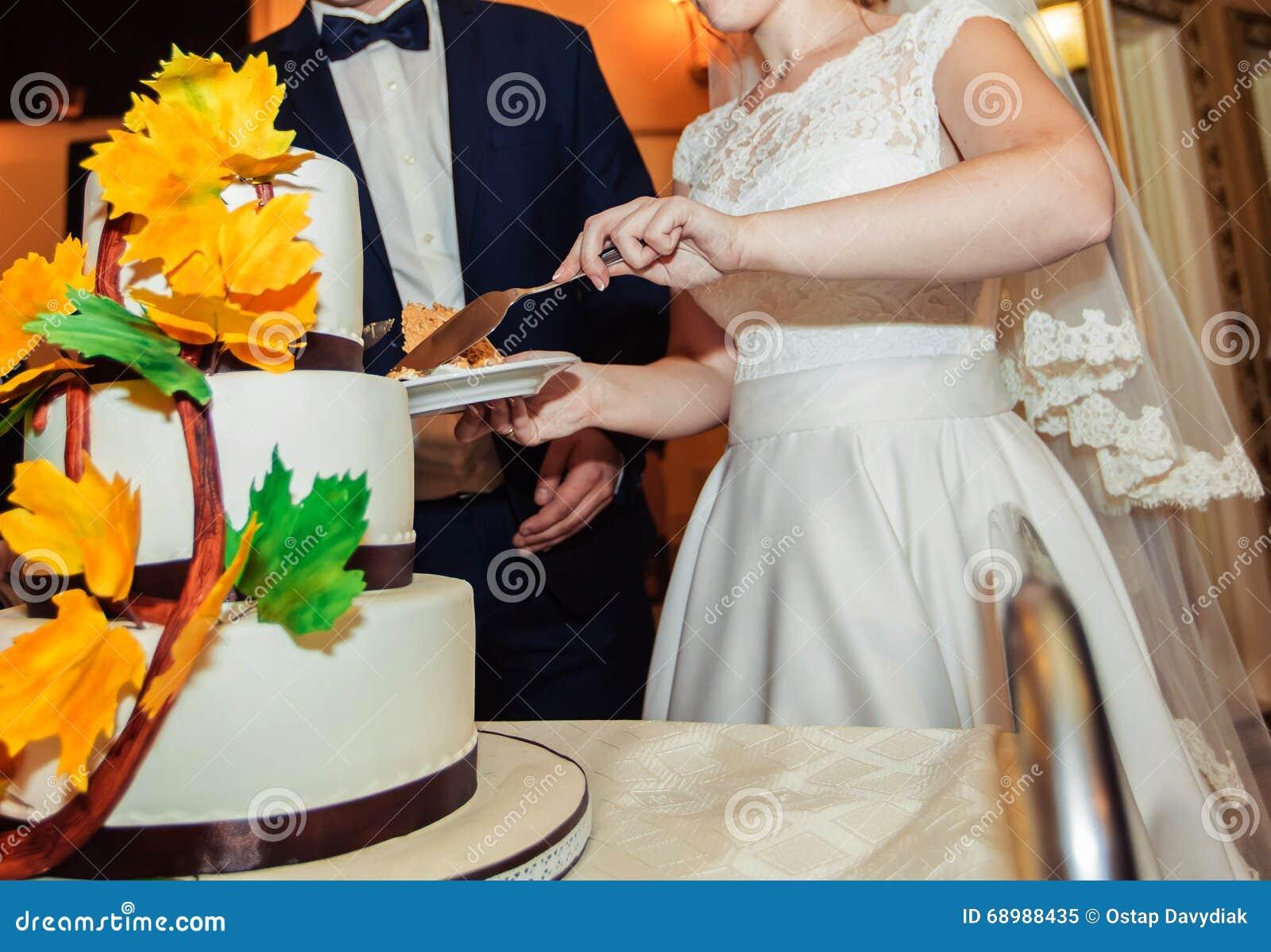 Una novia y un novio está cortando su pastel de bodas