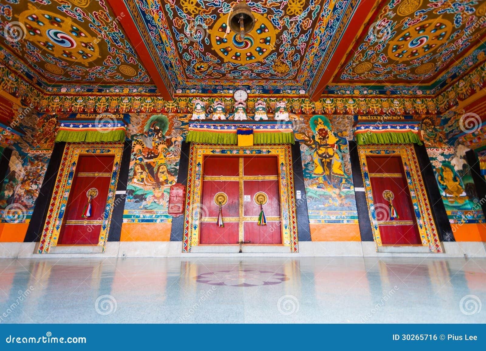 Techo H bajo de las puertas de entrada del monasterio de Rumtek