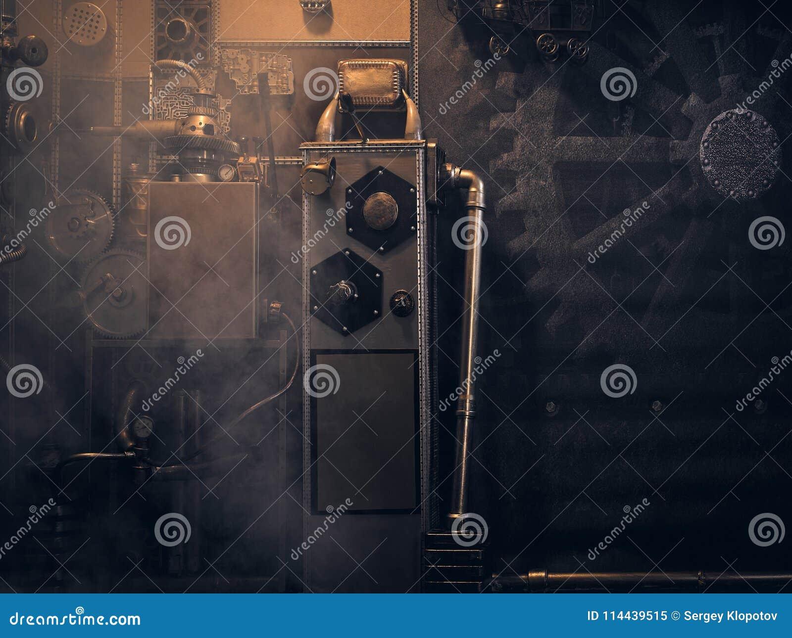 Una pared antigua del vintage con los mecanismos en el estilo del steampunk