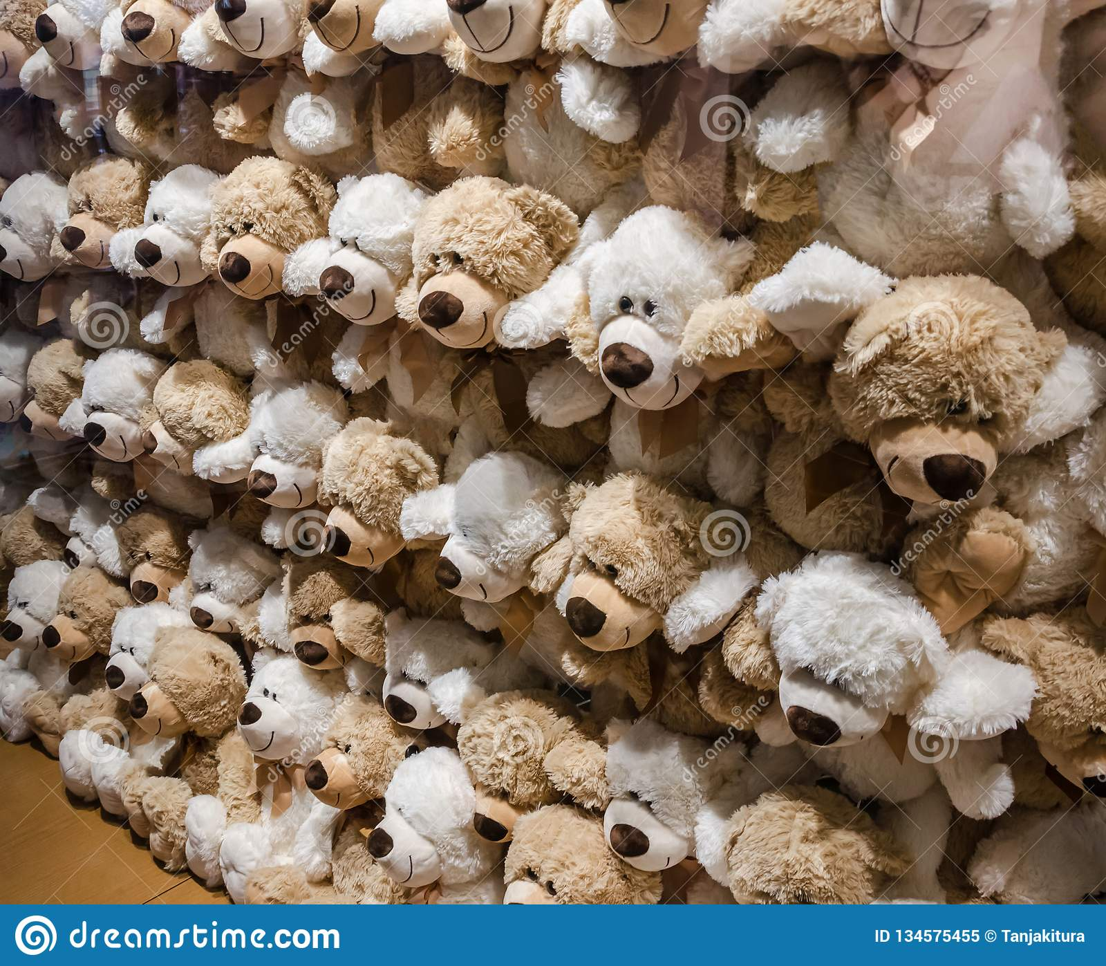 Una pared de los osos de peluche suaves
