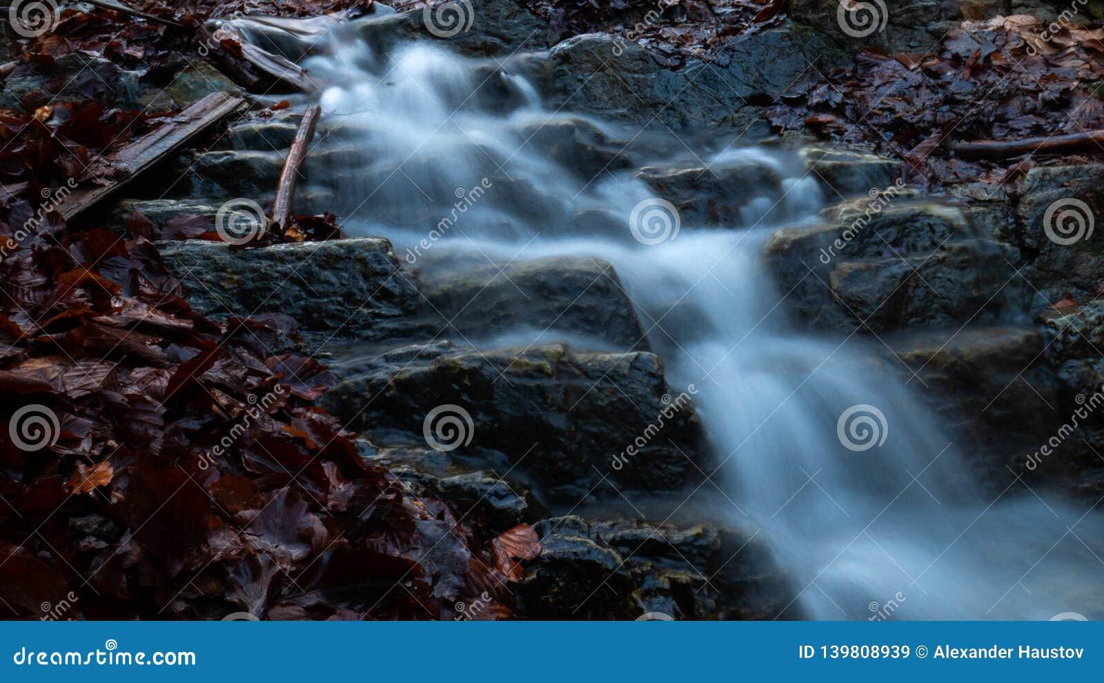 Una pequeña cascada en el bosque en Ucrania