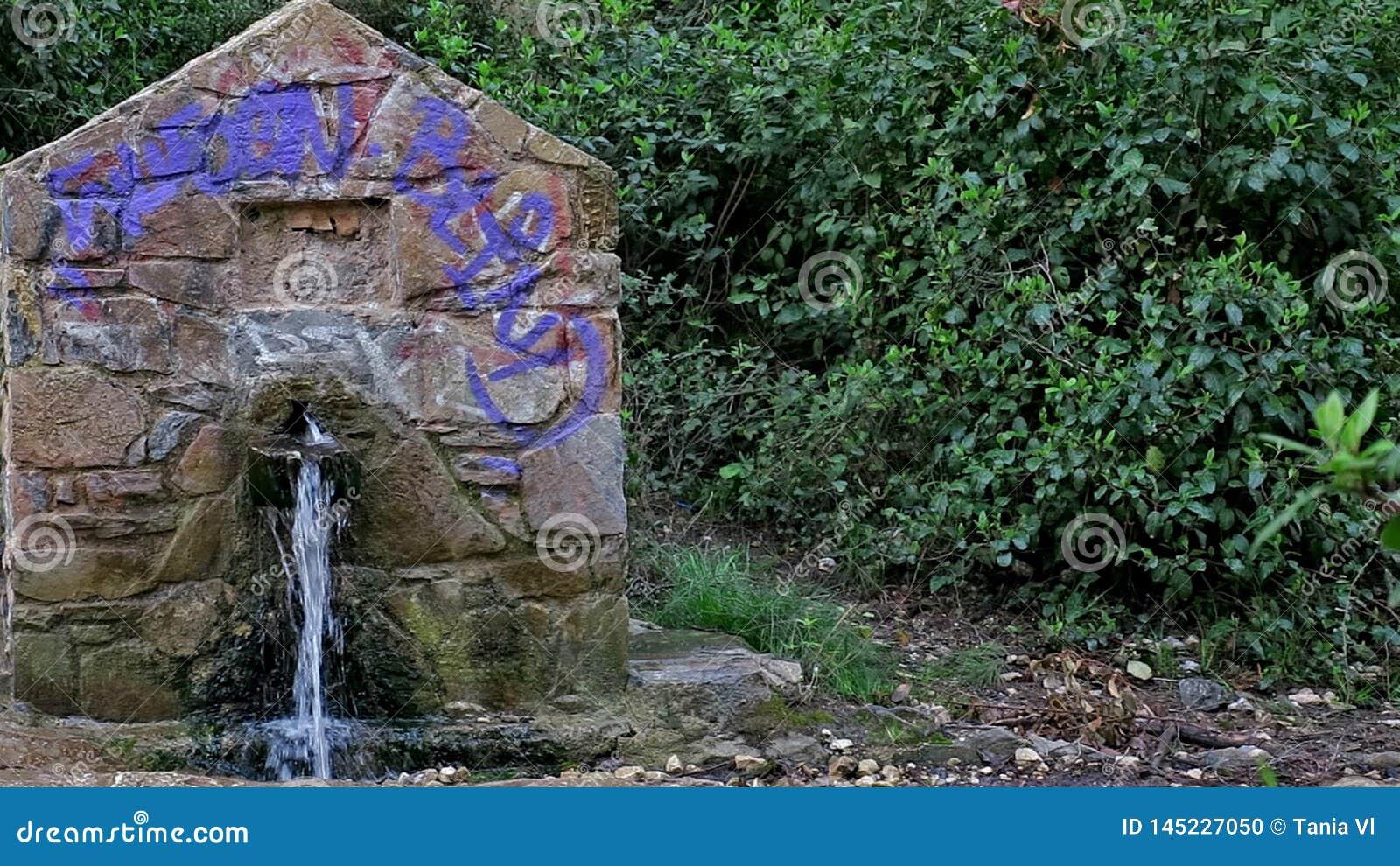 Una pequeña vieja estructura de piedra de la cual el agua vierte