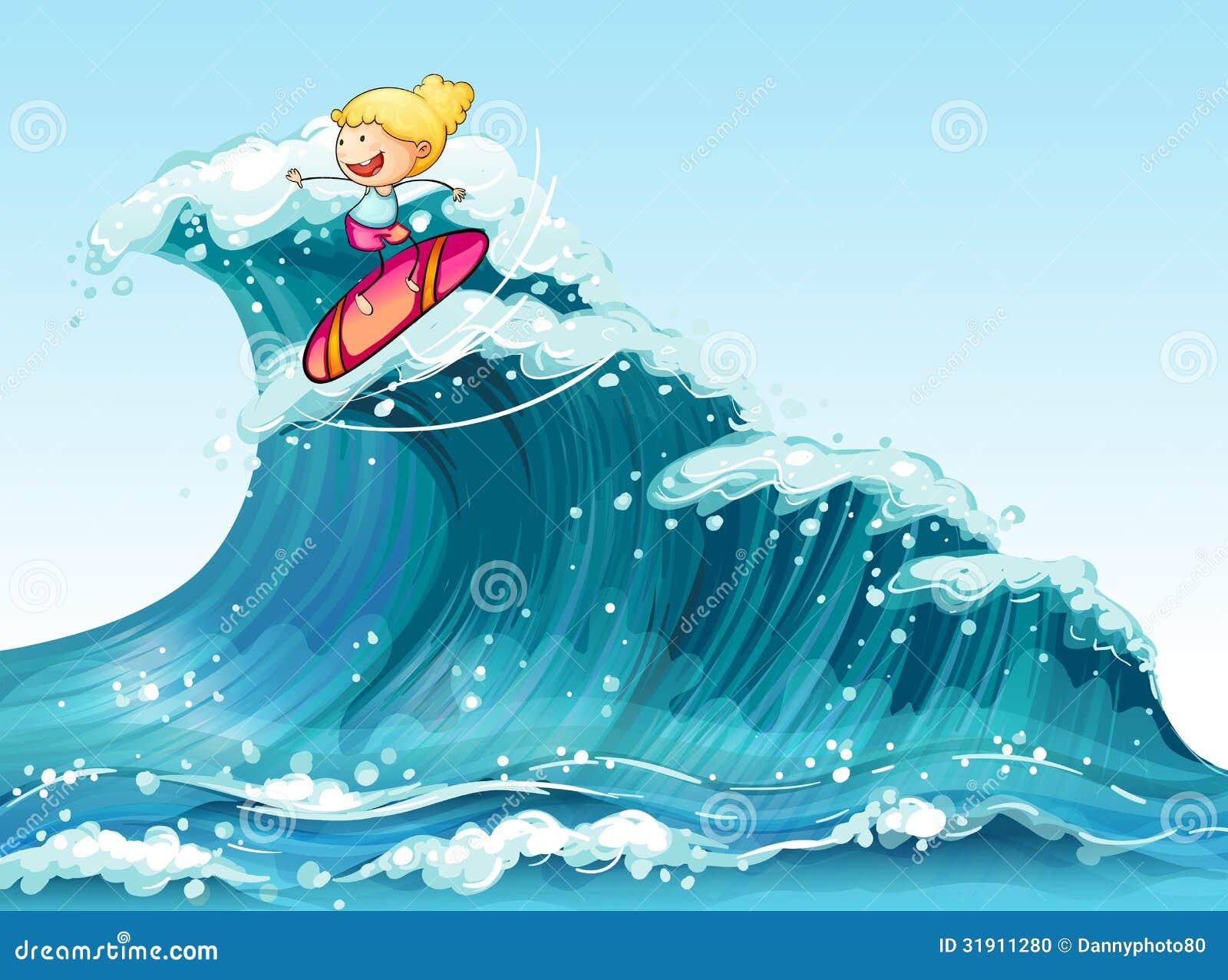 Una persona que practica surf de sexo femenino valiente