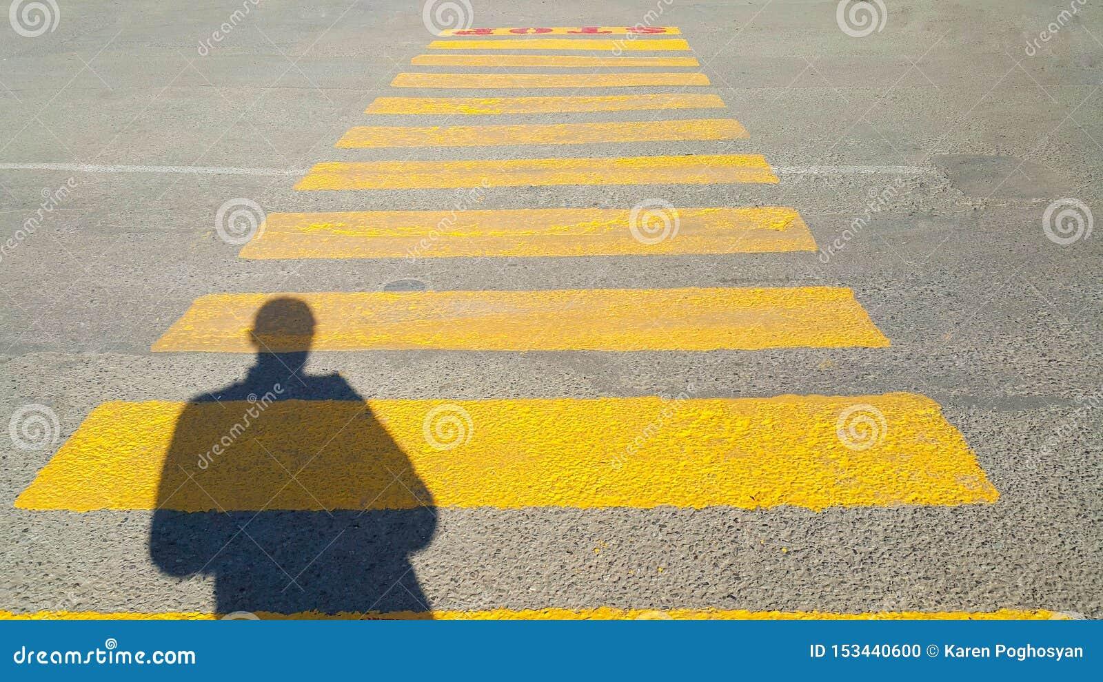 Una persona sta all inizio di un passaggio pedonale, in cui è scritto la fermata e le attese per il tempo del passaggio, sul gial