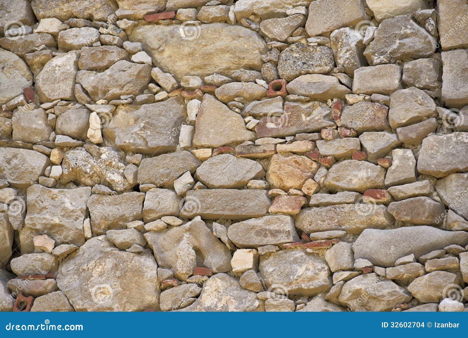 Una pietra e un muro di mattoni fotografia stock for Mattoni e pietra americani