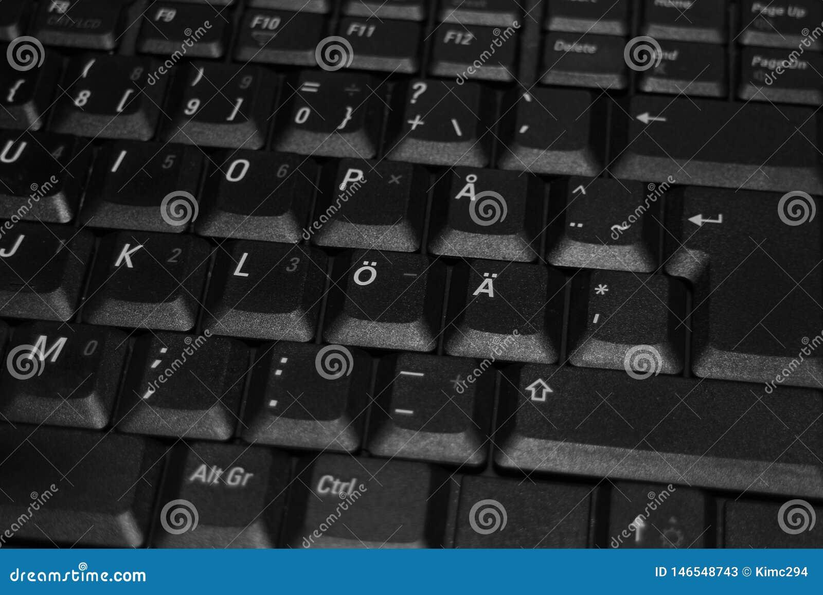Una pieza de un teclado del ordenador portátil Foto ascendente cercana en blanco y negro