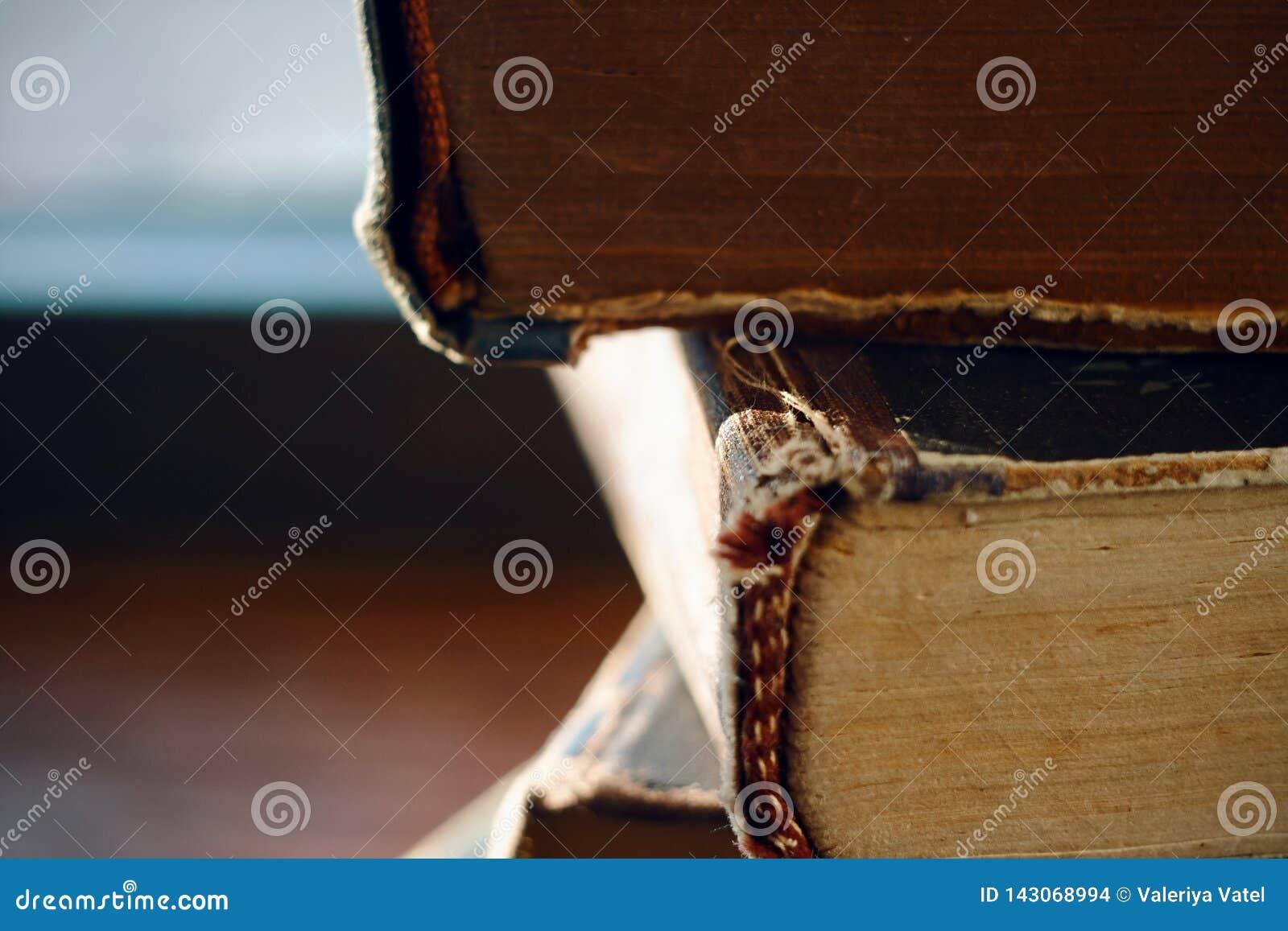 Una pila de espina dorsal de mentira de los libros viejos del golpe-para arriba del vintage adelante