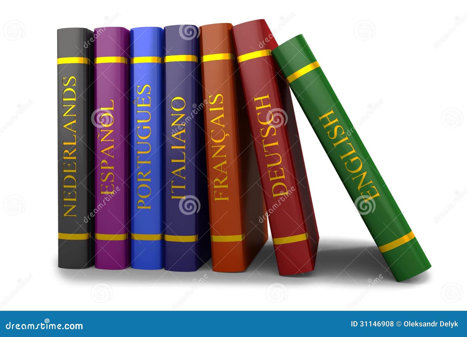 Una Pila De Libros En El Estudio De Idiomas Stock De
