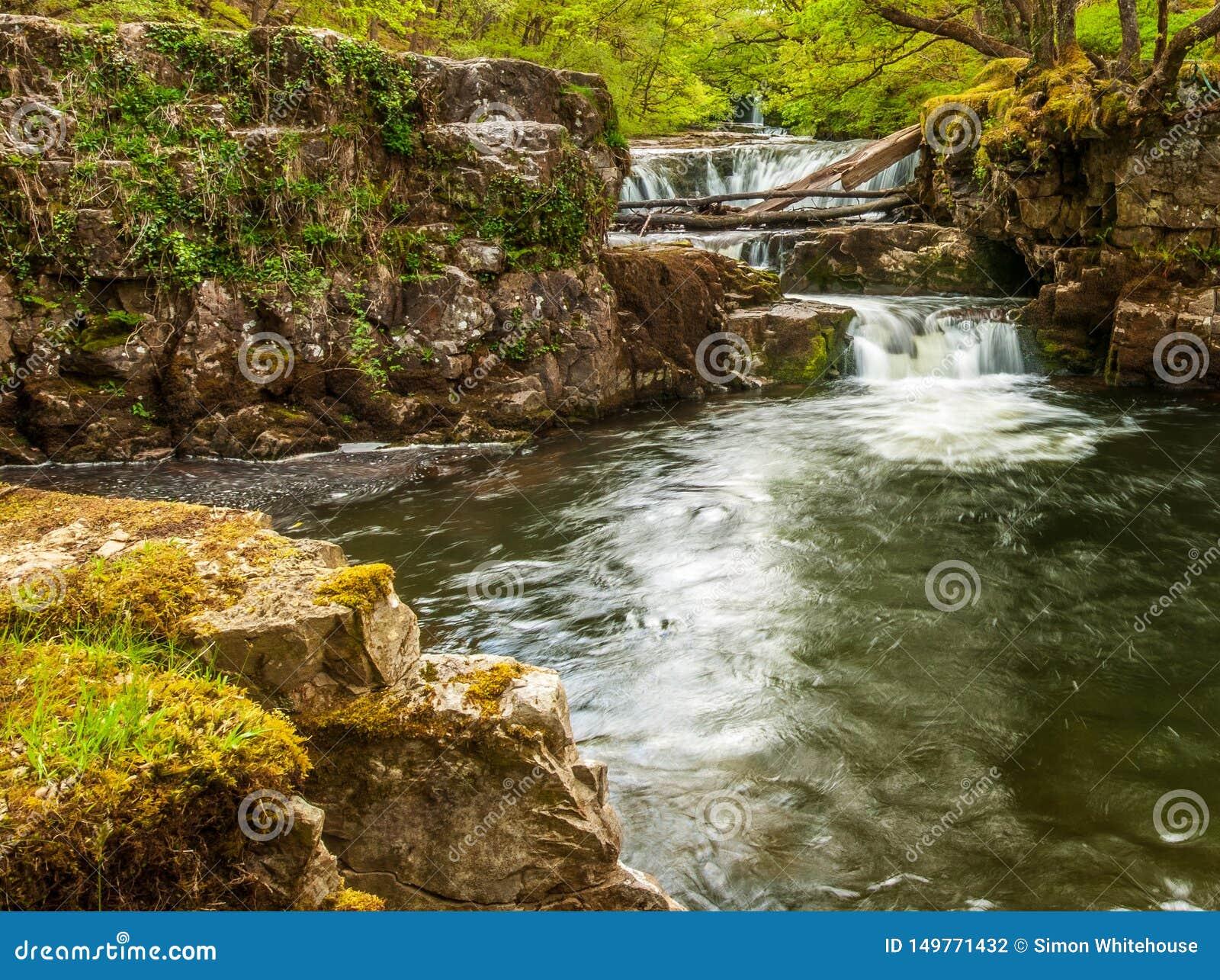 Una piscina de la zambullida en el río Nedd en los faros de Brecon