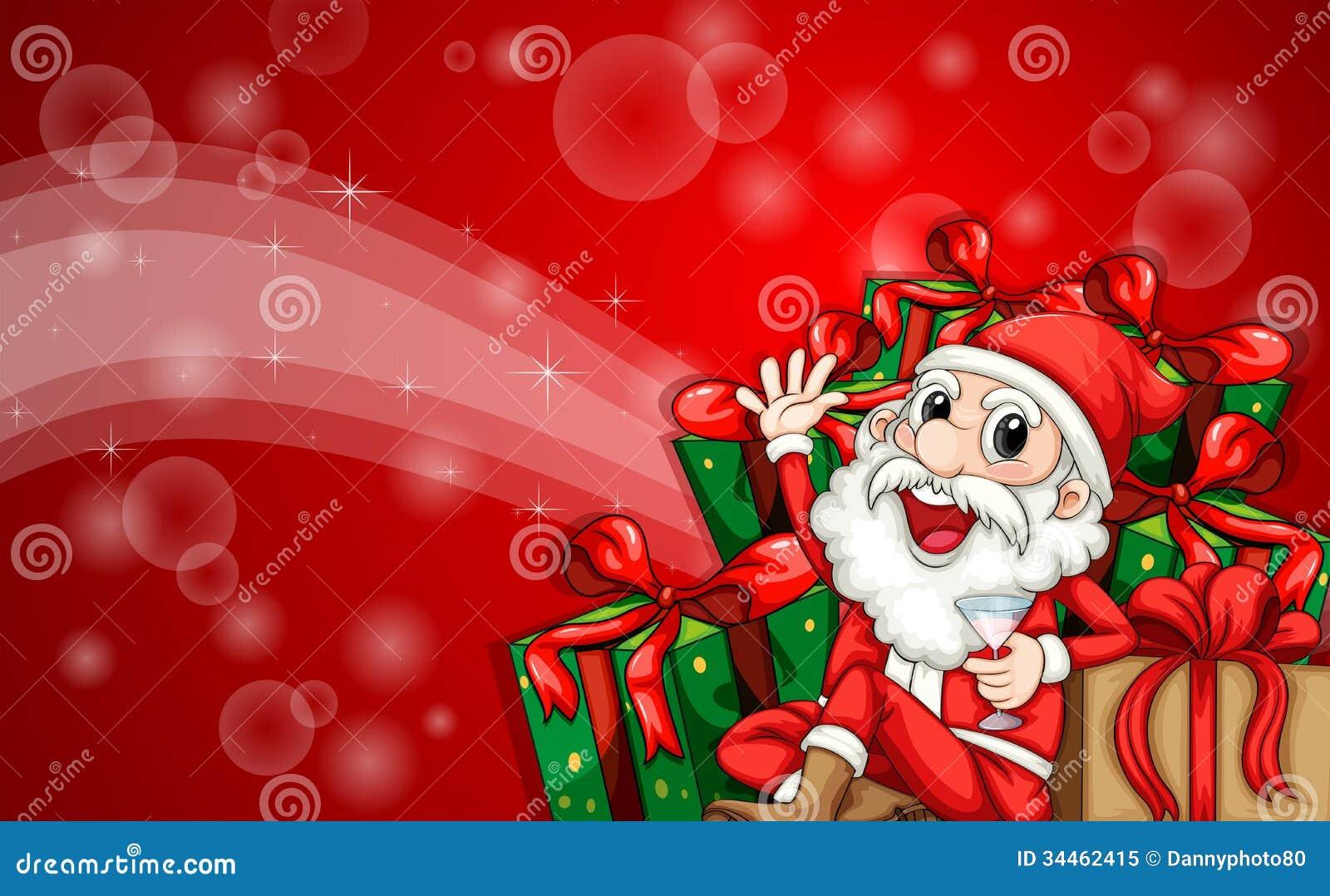 Una Plantilla Chispeante De La Tarjeta De Navidad Con Santa Claus ...