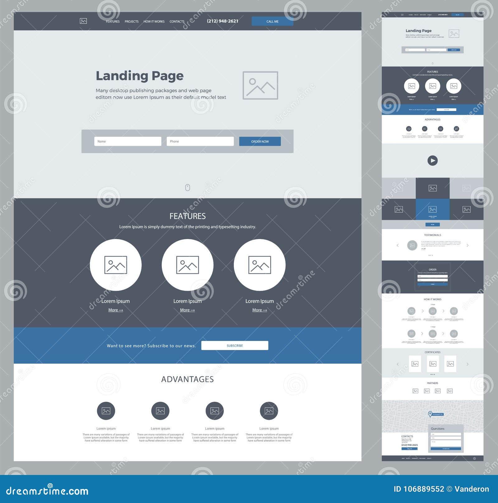 Una Plantilla Del Diseño Del Sitio Web De La Página Para Su Negocio ...