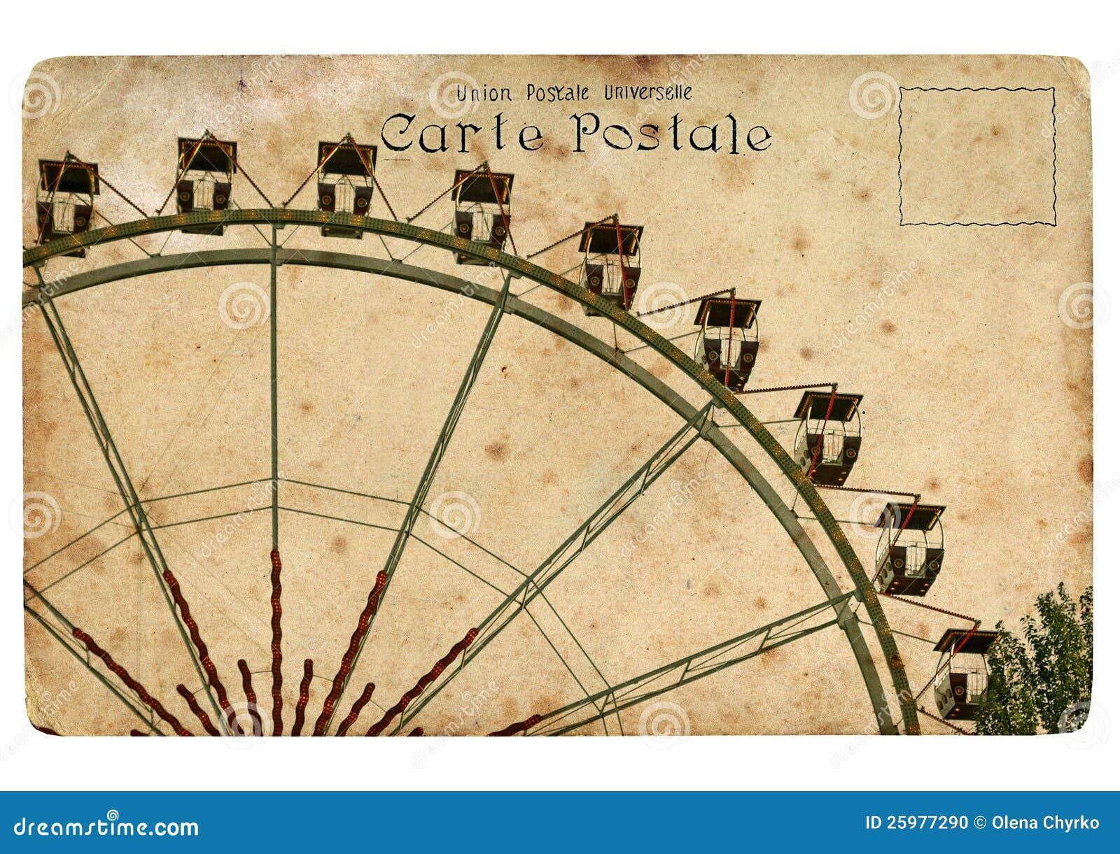 Una postal vieja con una rueda de Ferris.