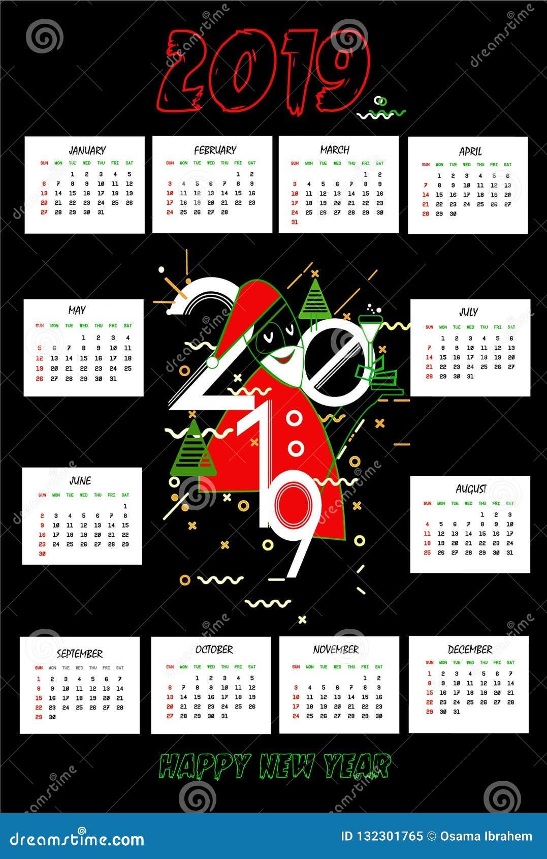 Una progettazione di 2019 calendari con fondo nero