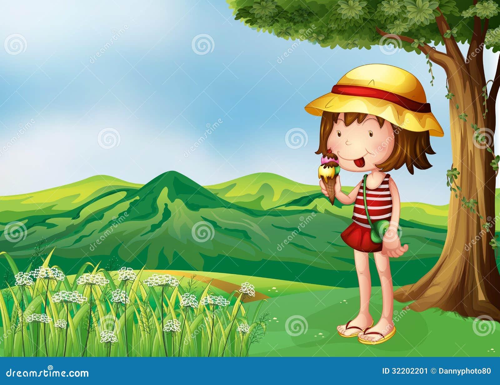 Una ragazza che mangia un gelato alla cima delle colline - Immagine di una ragazza a colori ...