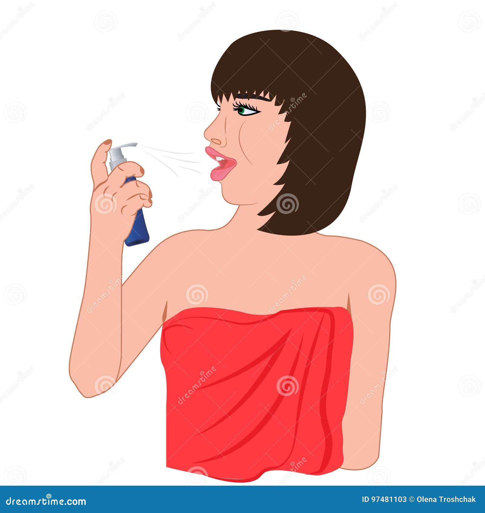 Una ragazza che usando un risciacquo di bocca