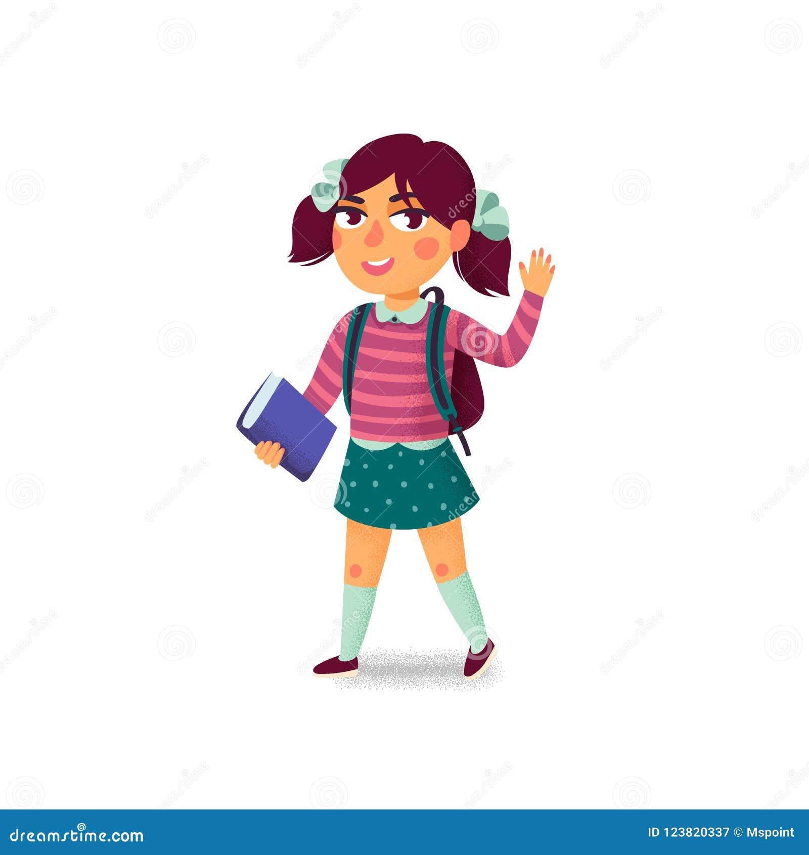 Una ragazza con il libro e lo zaino su fondo bianco Allievo felice Allievo della scuola elementare Giovane signora allegra Di nuo
