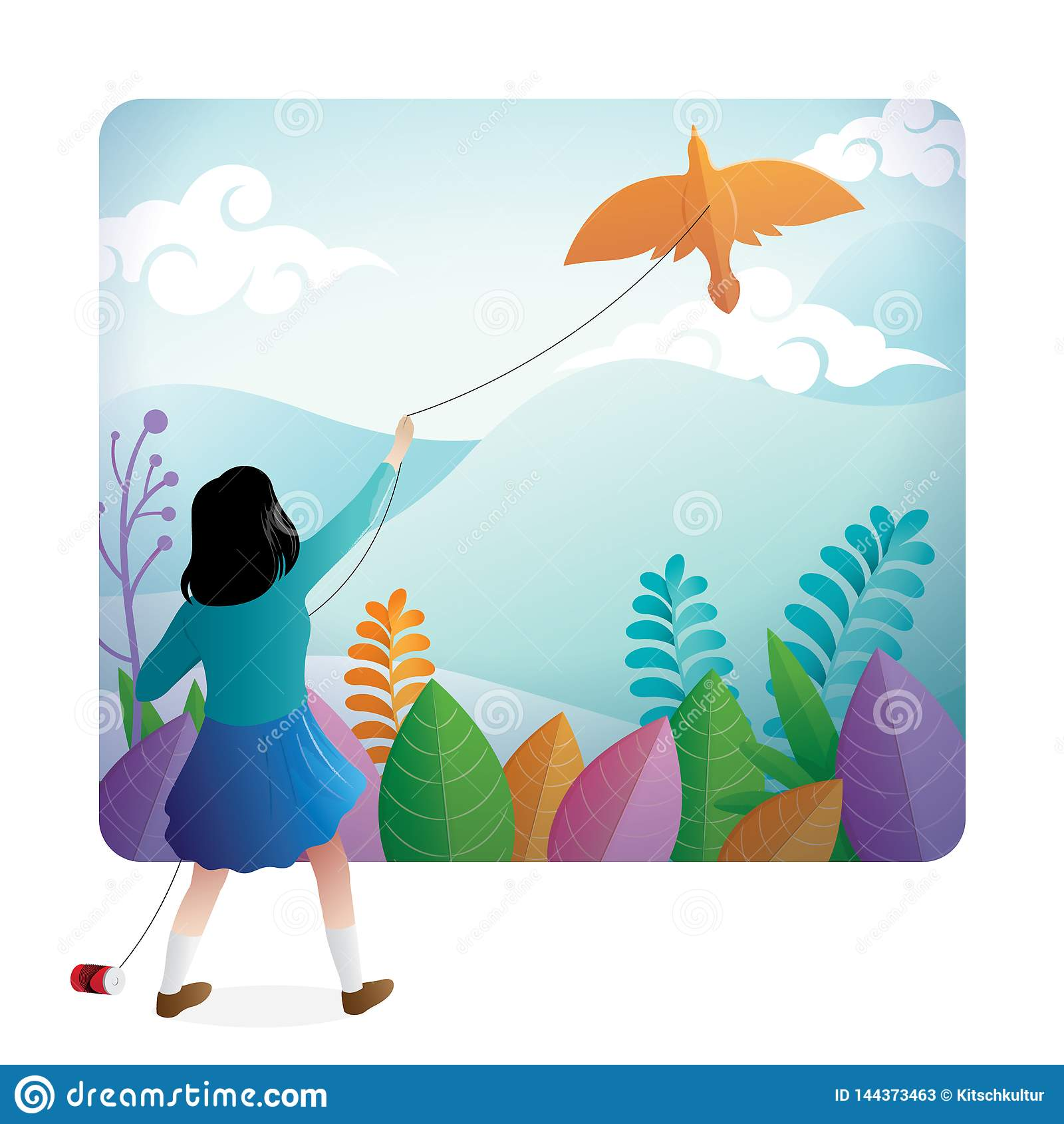 Una ragazza sveglia che gioca aquilone all aperto con un bello paesaggio sui precedenti