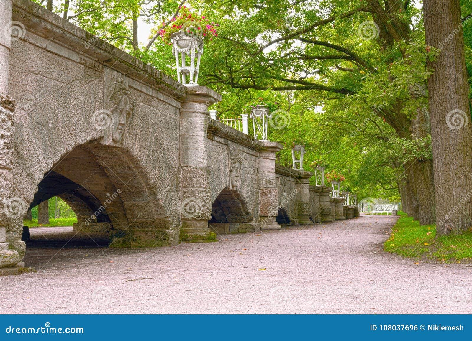 Una rampa apacible-que se inclina a Catherine Park, adornada con los floreros por los altares clásicos del arrabio que incorporan