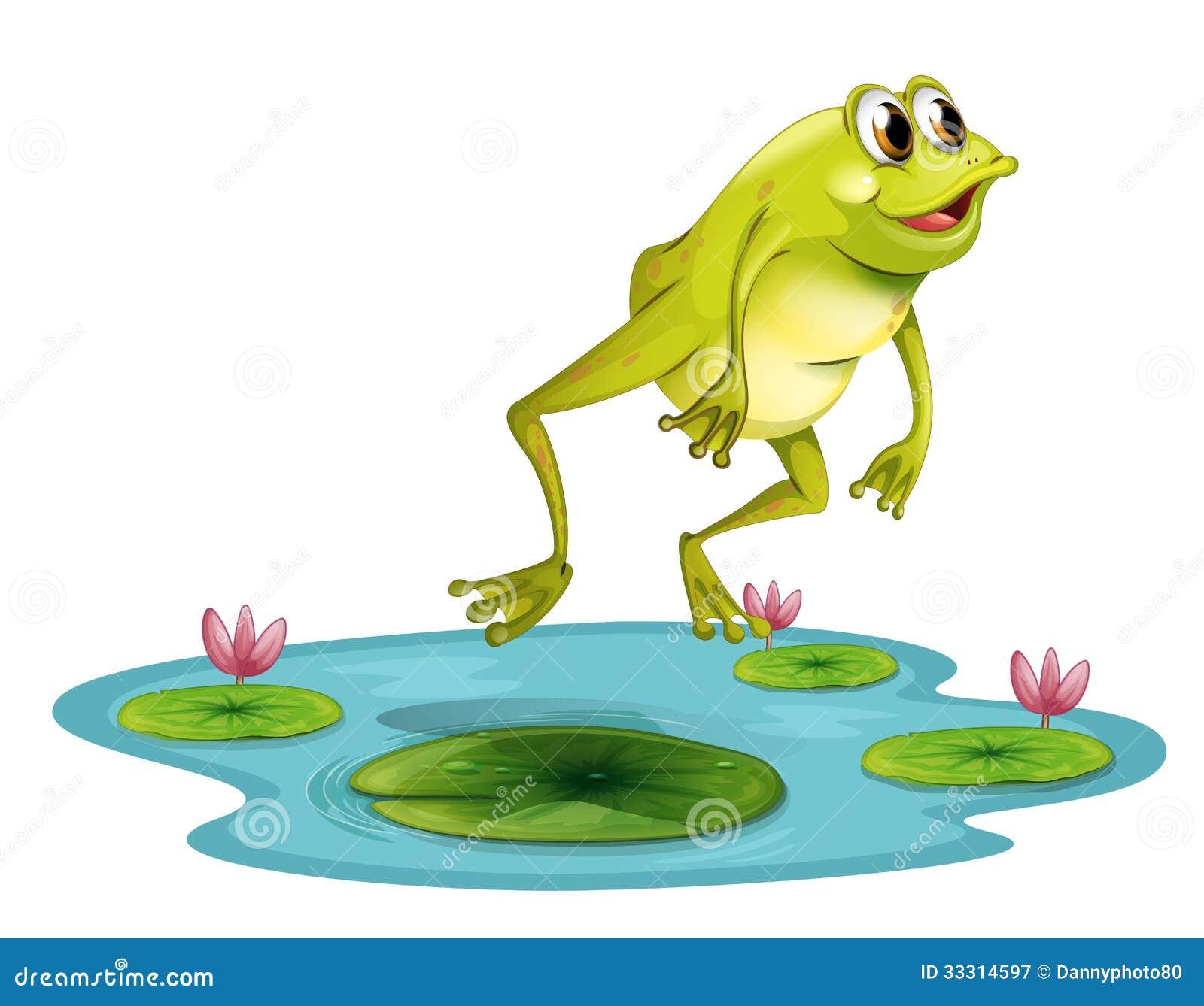Una rana de salto en la charca