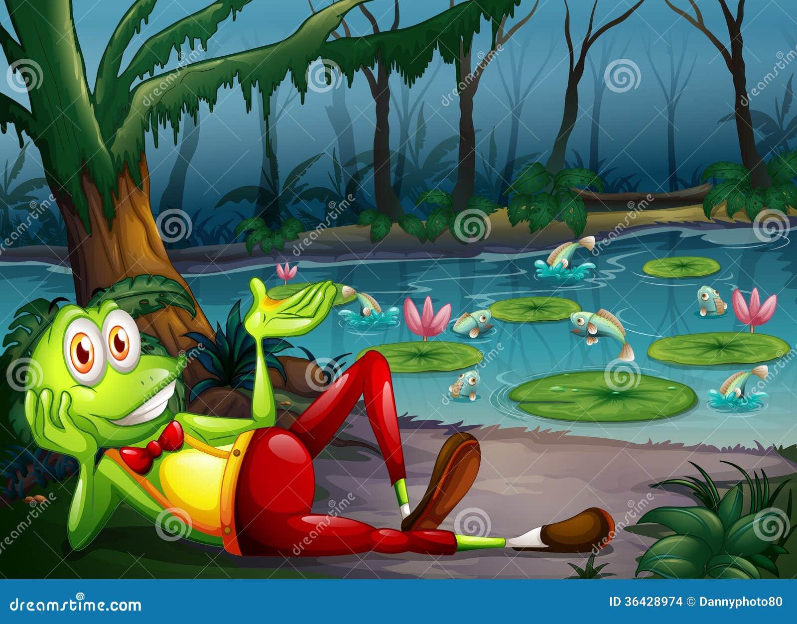 Una rana en el bosque que descansa cerca de la charca
