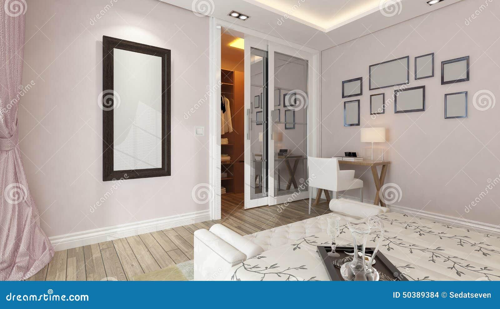 Una rappresentazione 3d della camera da letto moderna con - La finestra della camera da letto ...