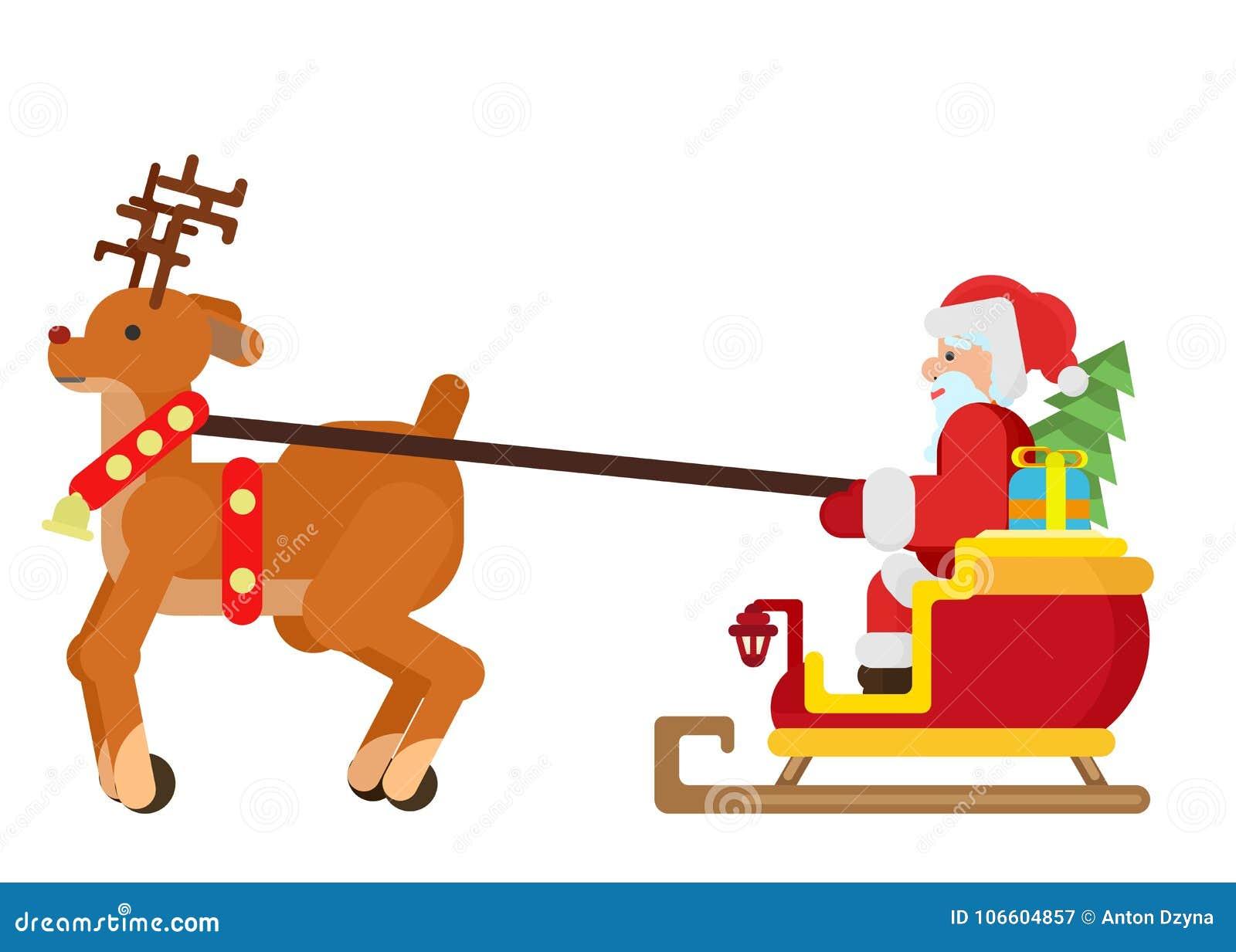 Una renna guida una slitta con Santa Claus e un albero di Natale