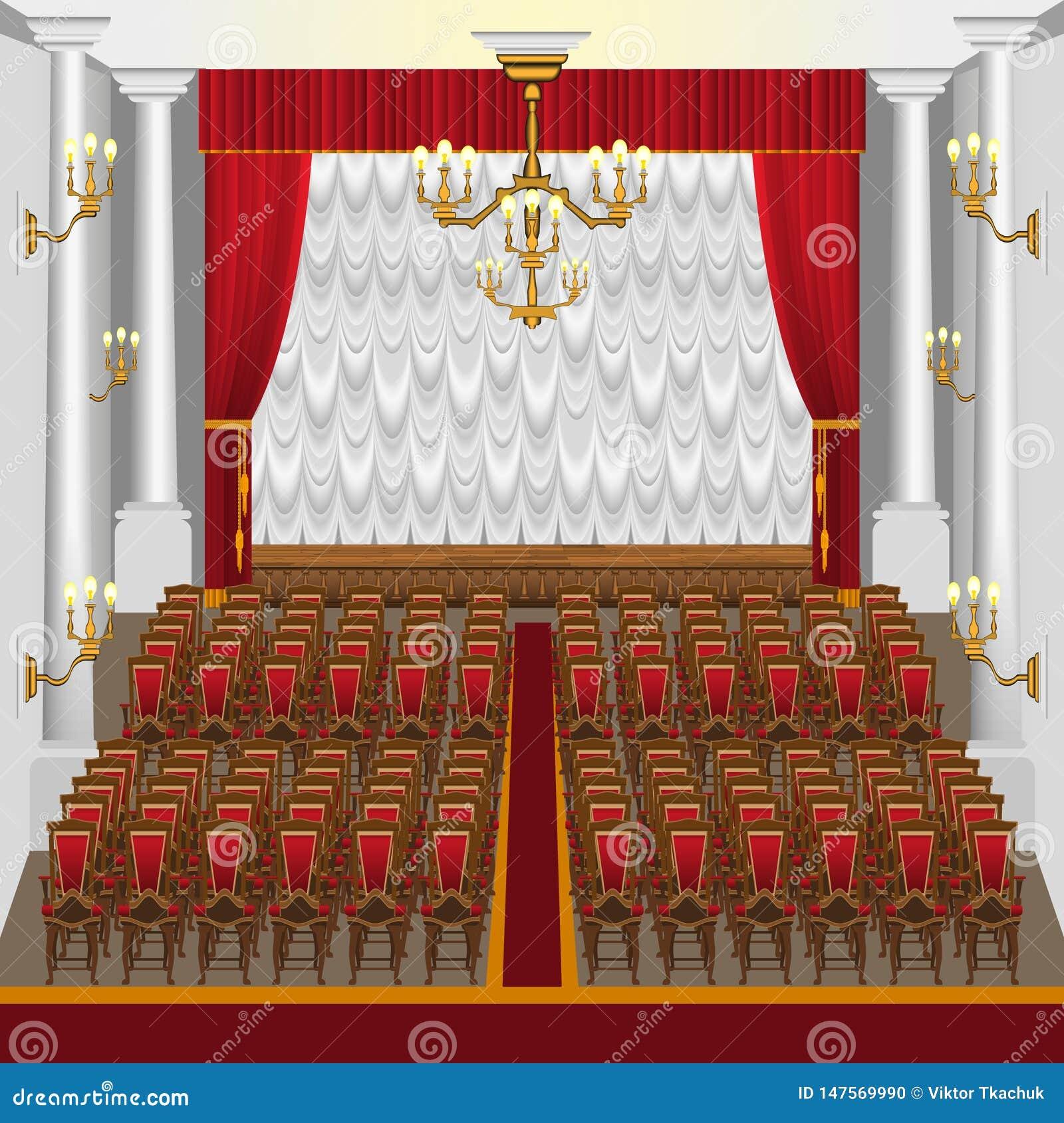 Una sala de conciertos grande con una etapa y las columnas
