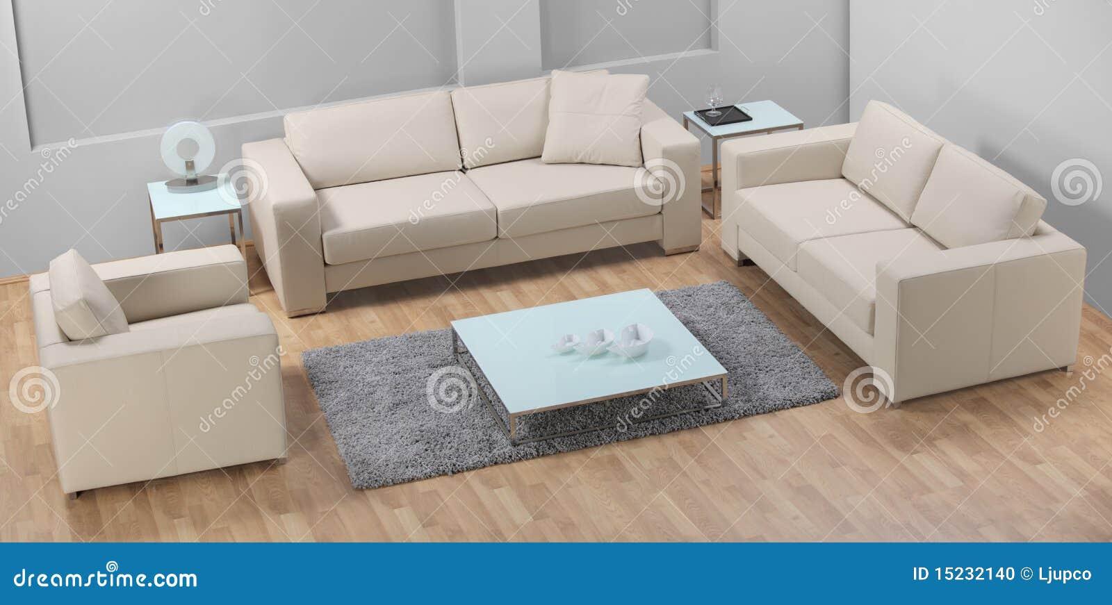 Una sala de estar minimalista moderna con el sof de cuero for Sofa minimalista