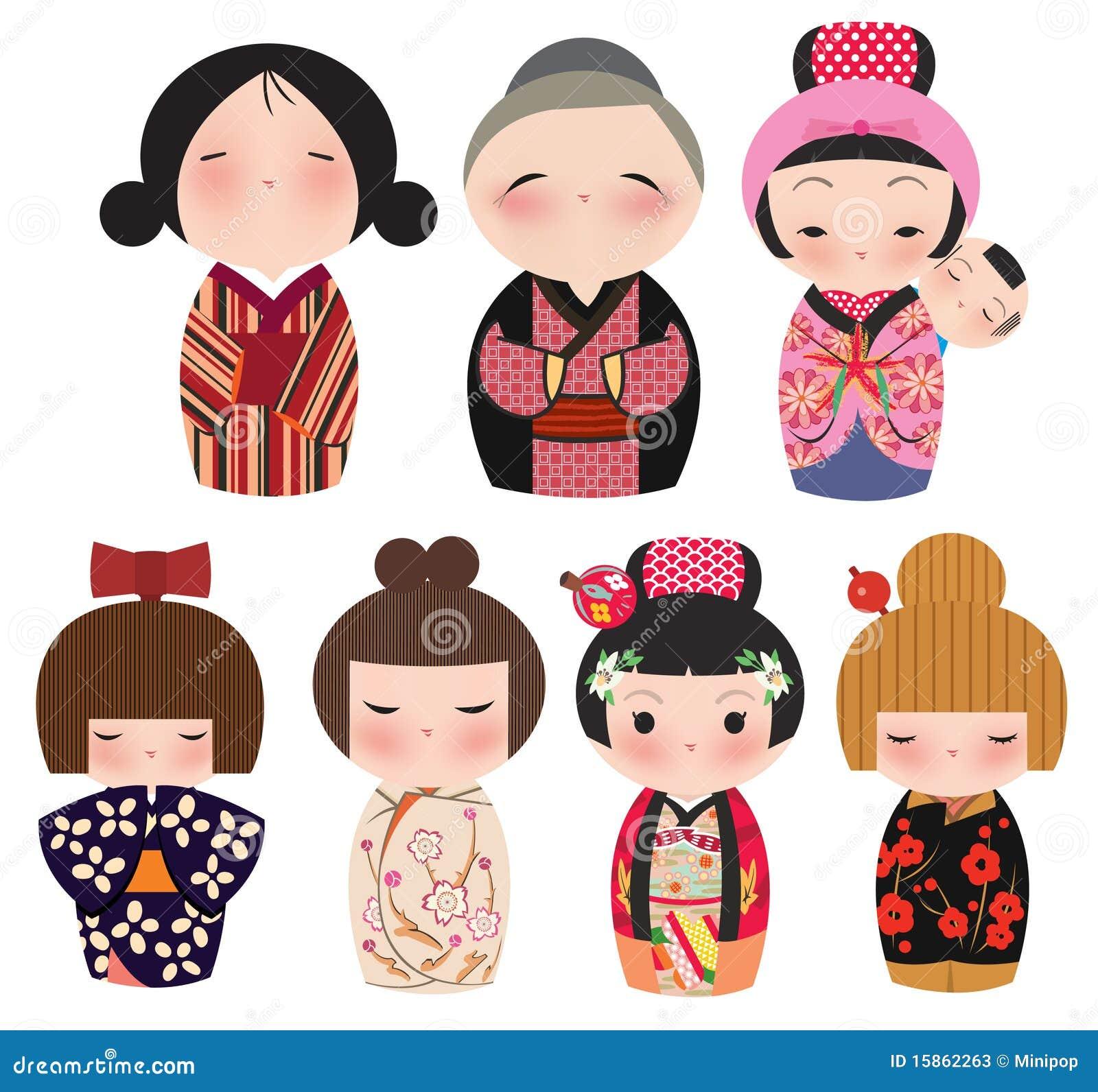 Una serie de caracteres japoneses lindos del kokeshi.