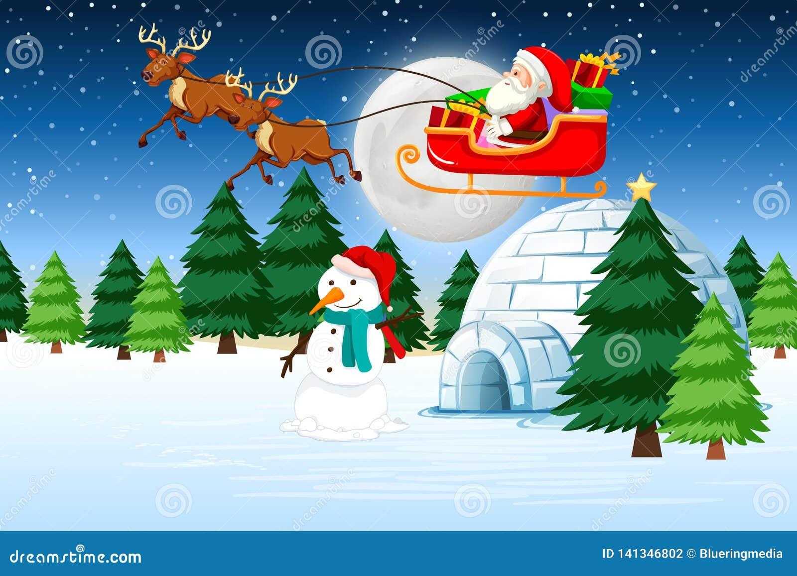Una slitta di guida di Santa