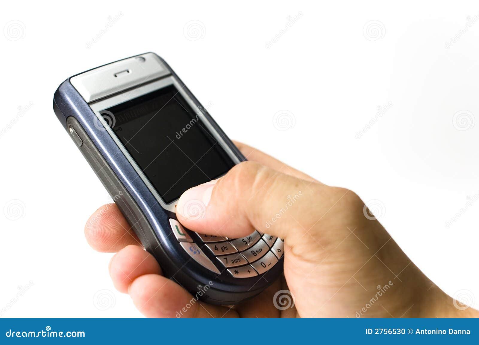 Una stretta della mano un microtelefono