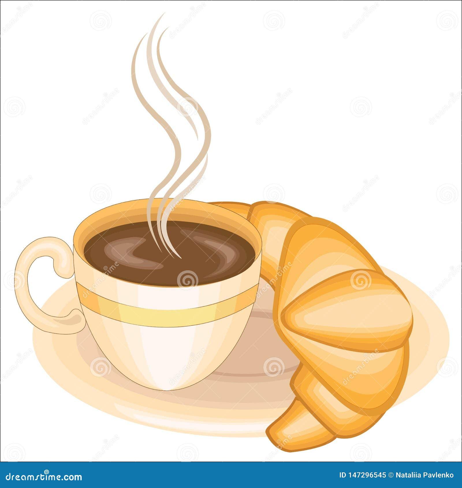 Una taza de caf? s?lo delicioso y de un cruas?n fresco en una placa con el chocolate Ilustraci?n del vector