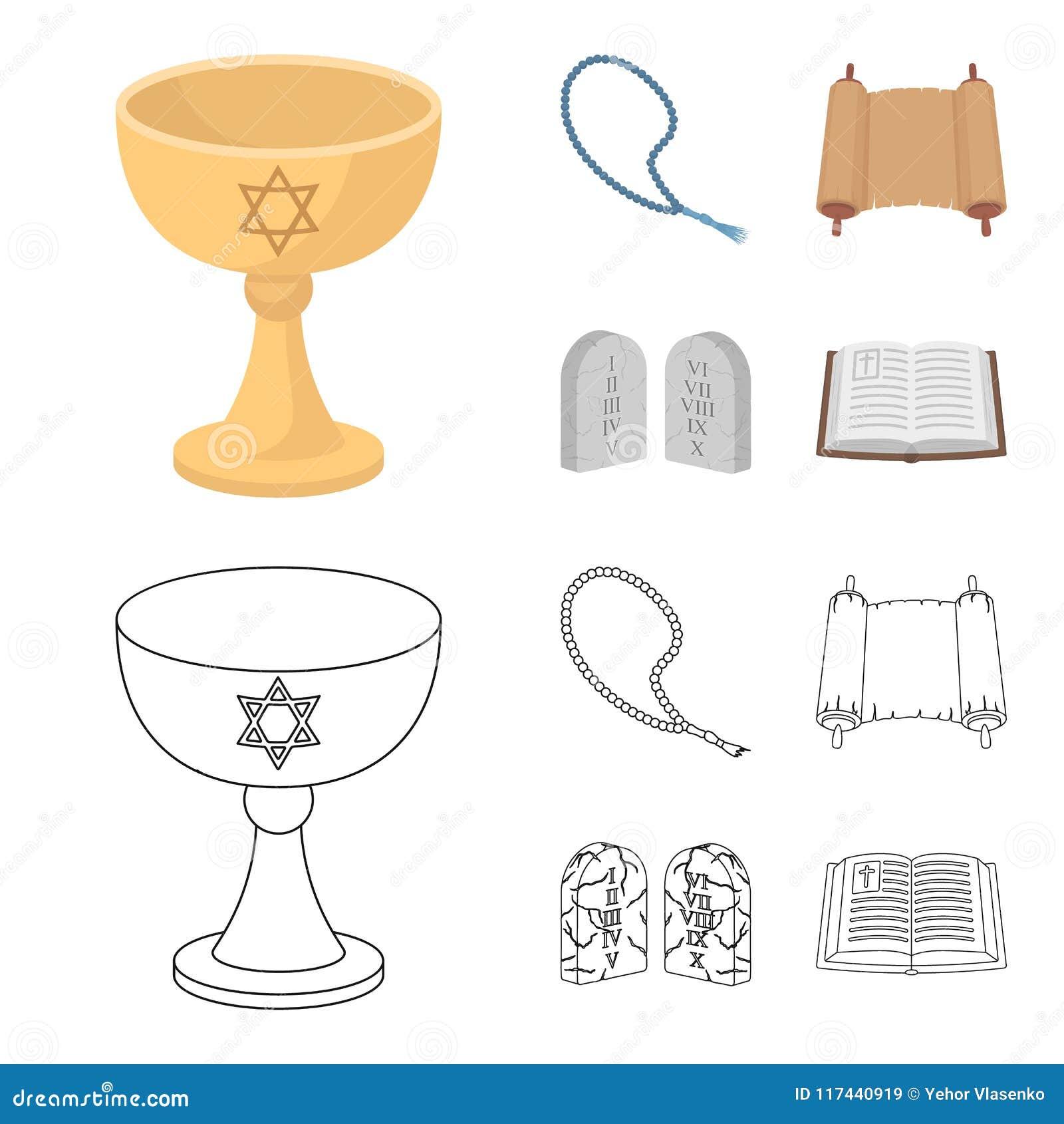 Una taza de vino, gotas islámicas, diez mandamientos, tanakh Iconos determinados de la colección de la religión en la historieta,